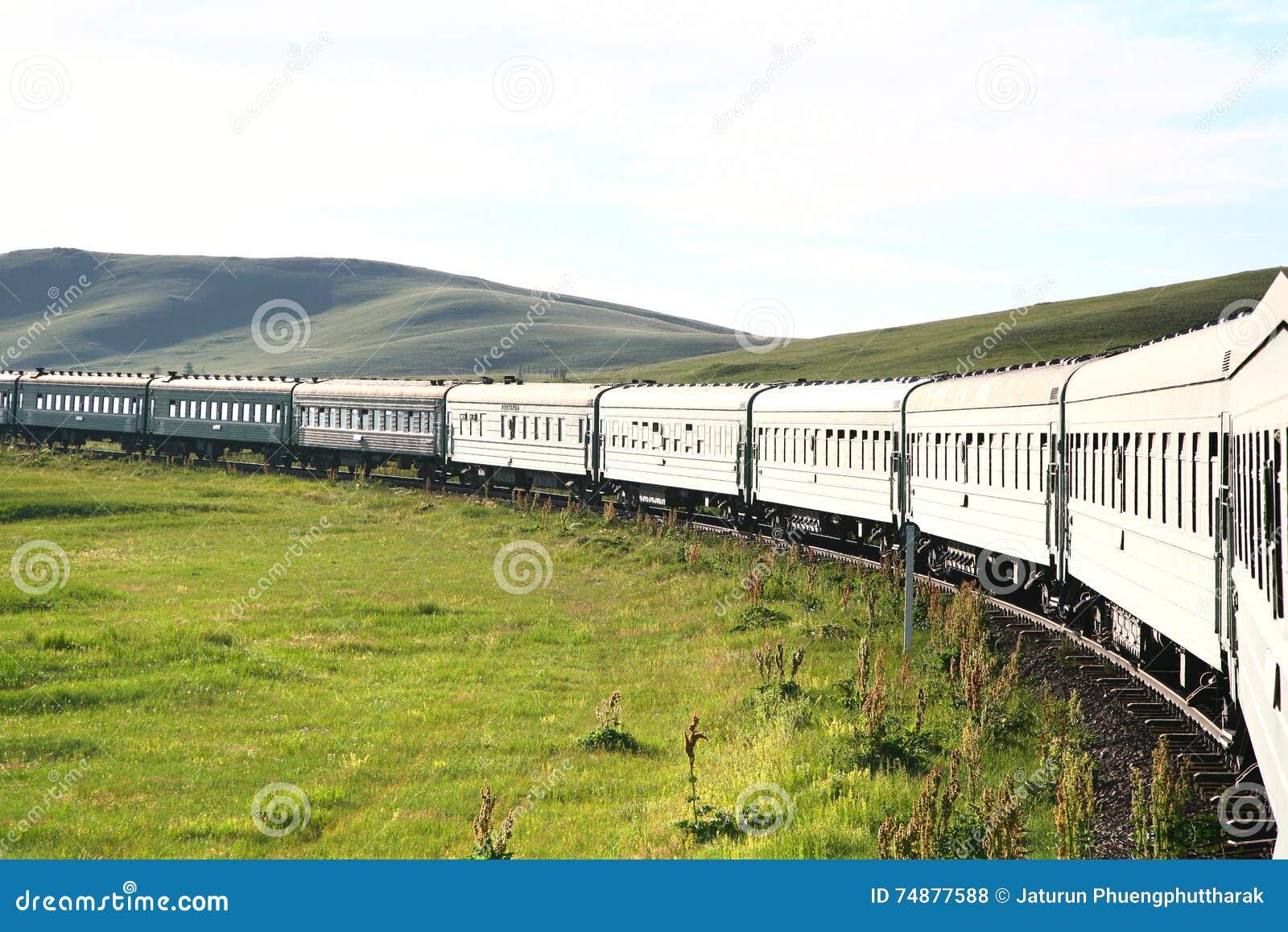 Estrada de ferro transiberiana da porcelana de beijing a mongolia ulaanbaatar