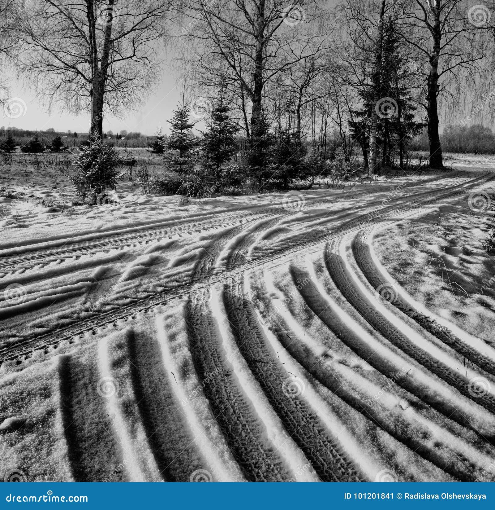 Estrada do inverno com traços de passo do pneu de carro