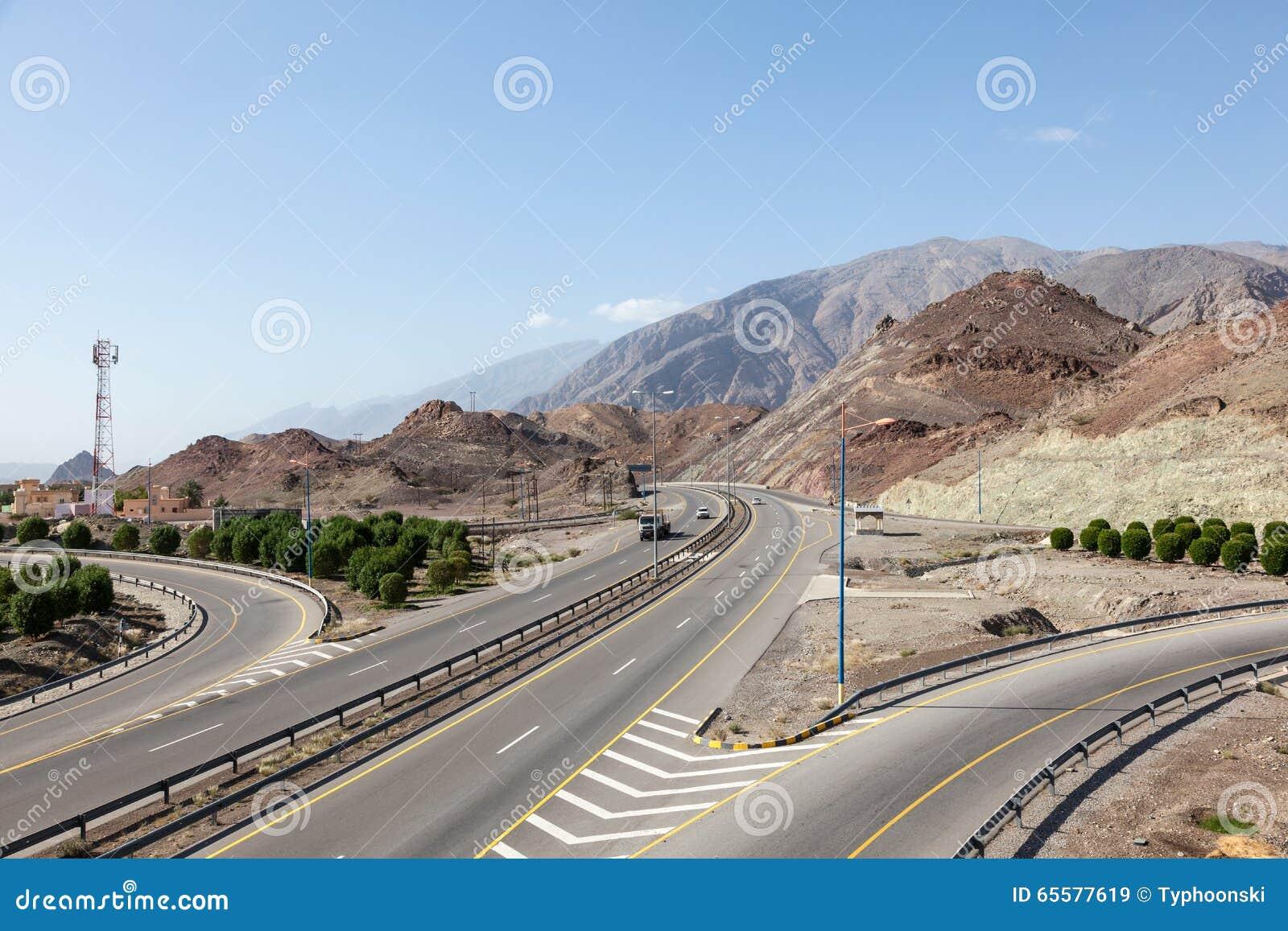 Estrada em Omã, Médio Oriente