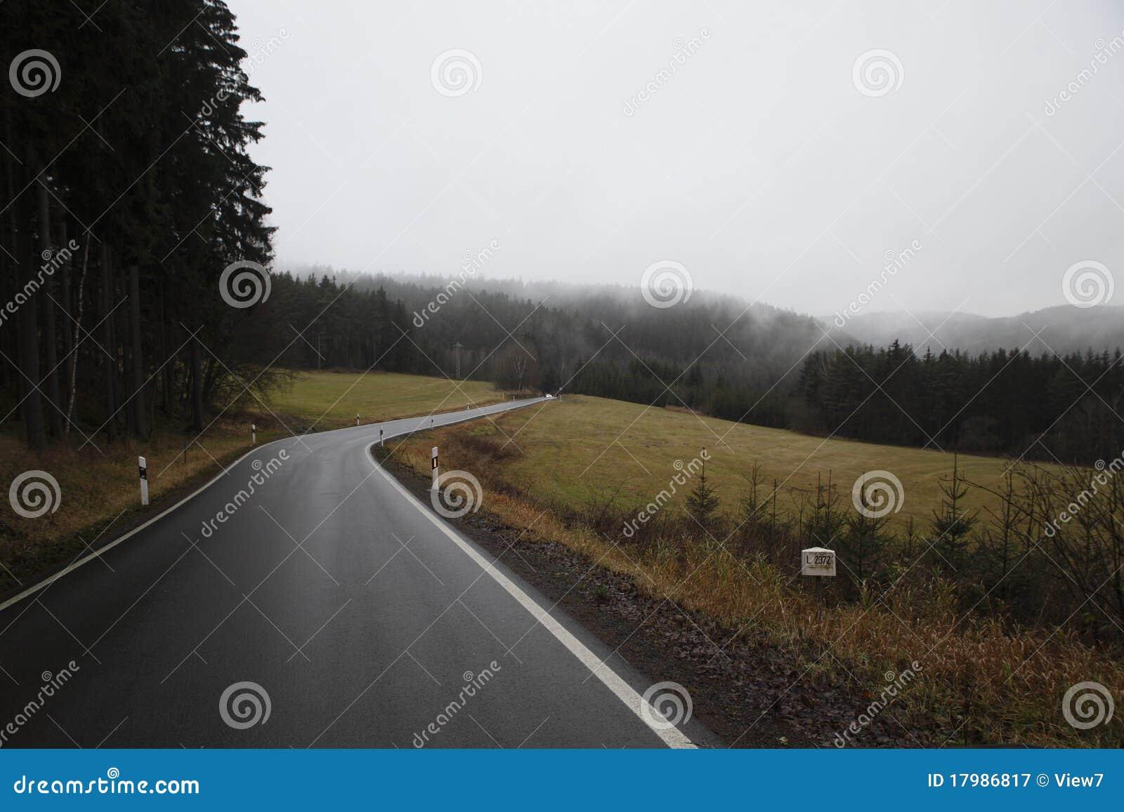 Estrada secundária no outono