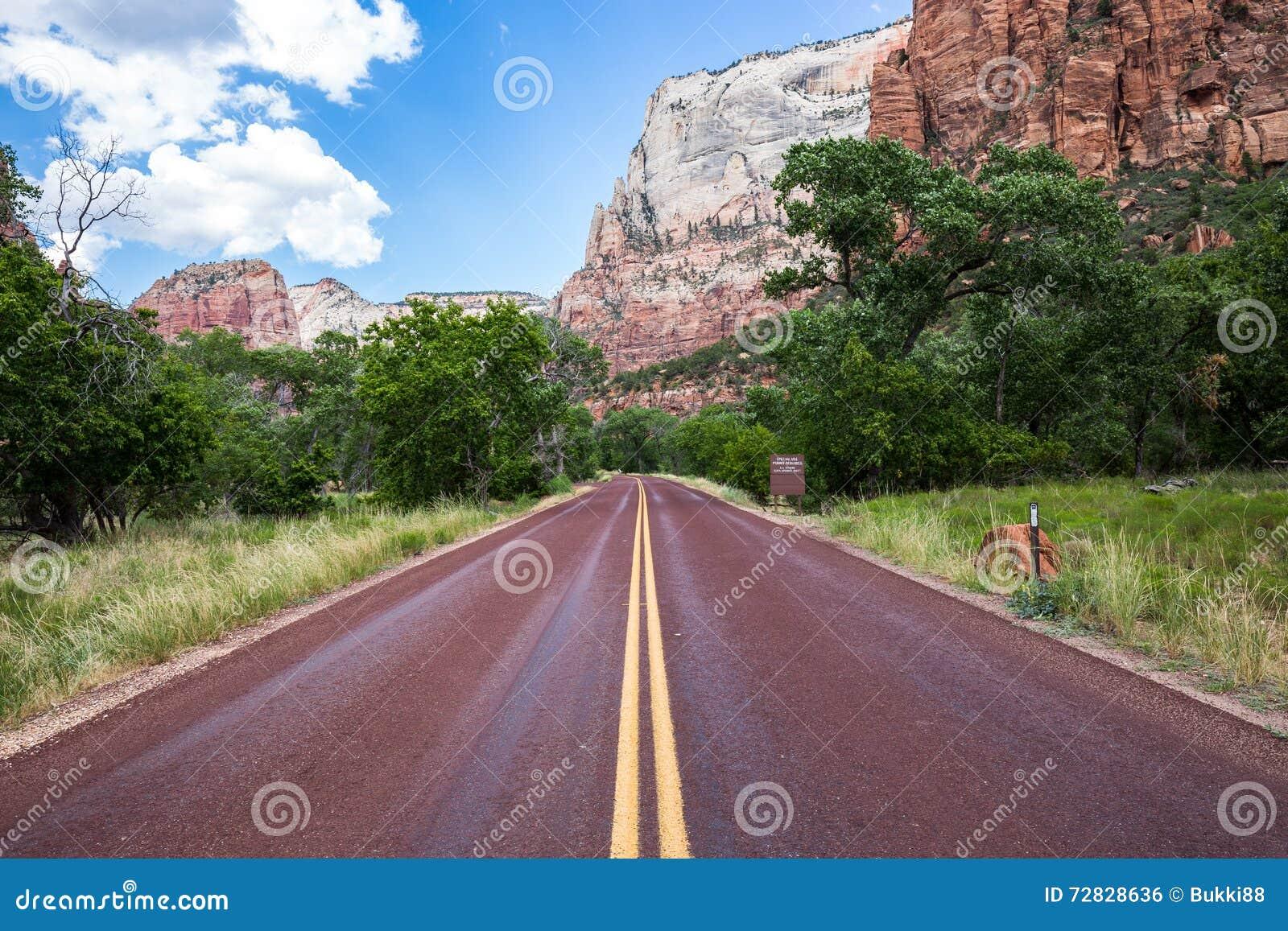 Estrada vermelha típica em Zion National Park, Utá, EUA