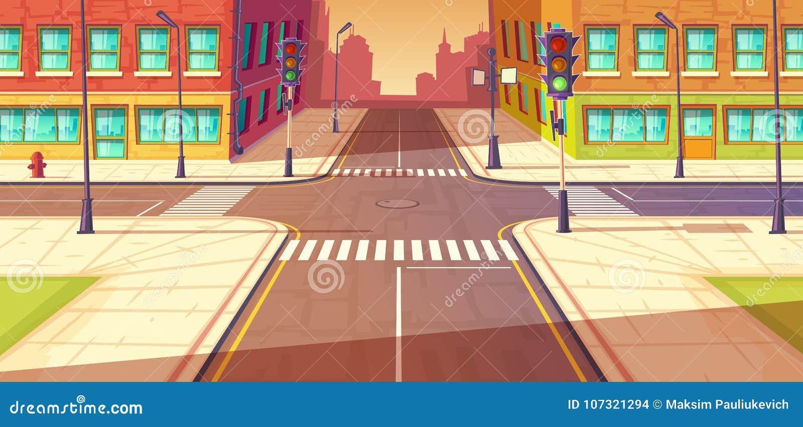 Estradas transversaas da cidade, ilustração do vetor da interseção Estrada urbana, faixa de travessia com sinais