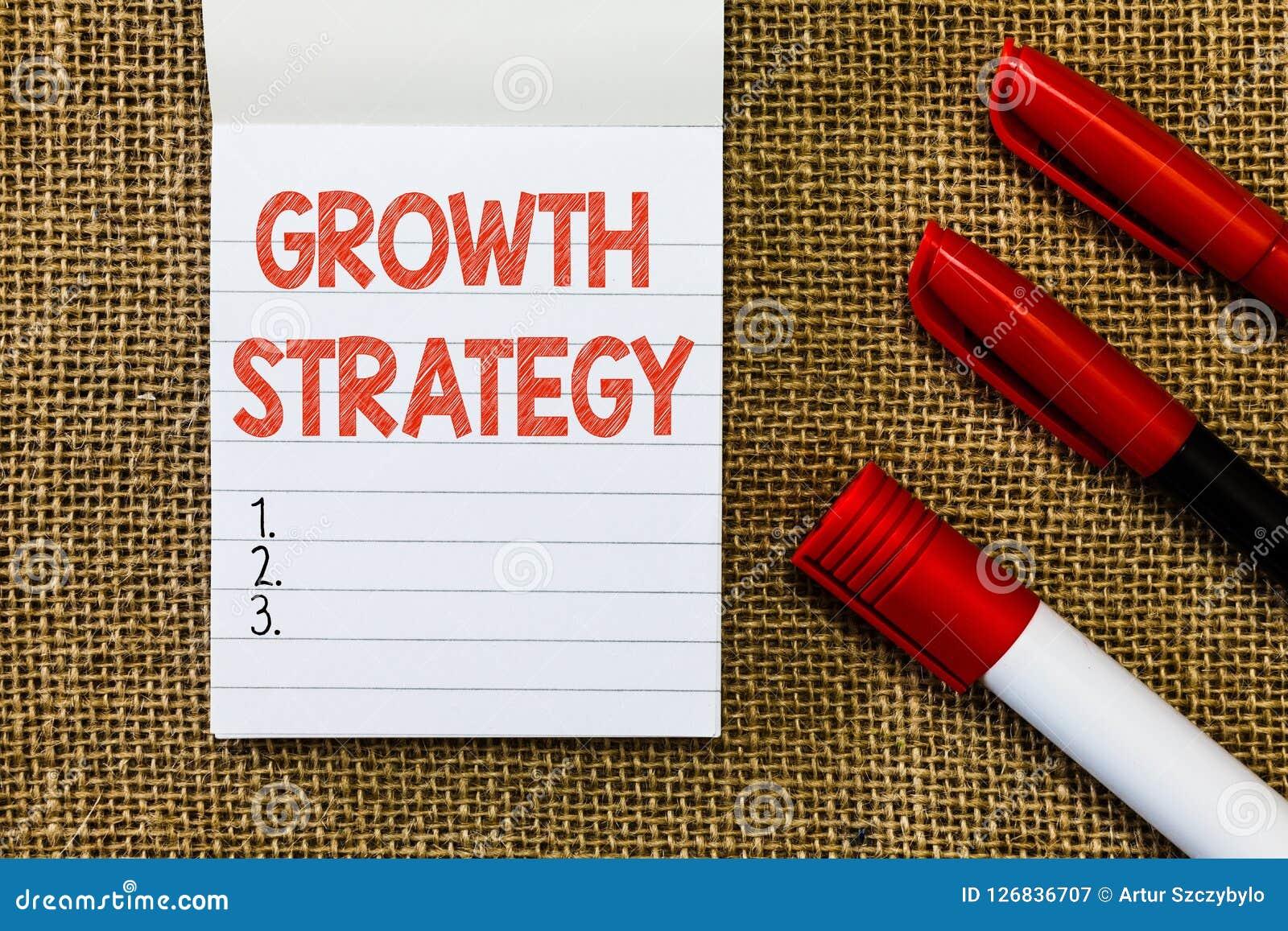 Estratégia do crescimento do texto da escrita da palavra O conceito do negócio para a estratégia visou ganhar a parte de mercado