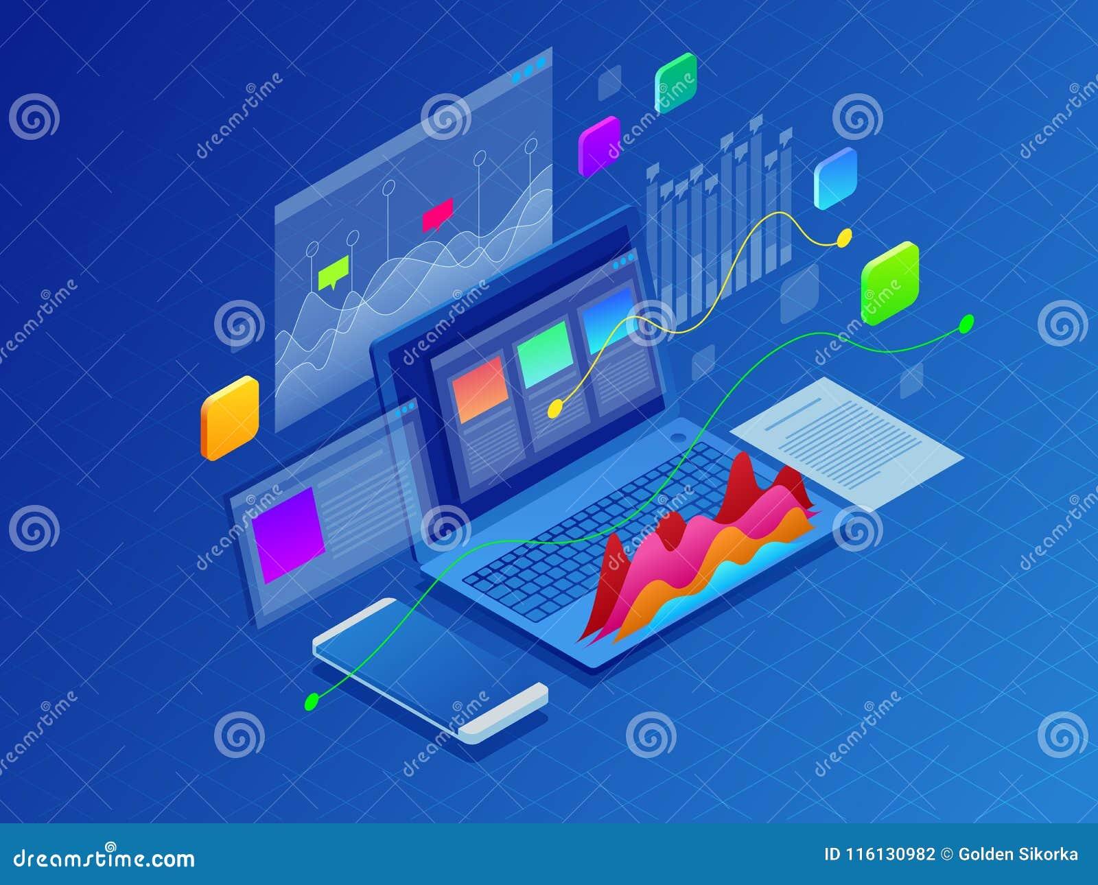 Estratégia empresarial do conceito Ilustração de gráficos dos dados ou de diagramas financeiros, estatística dos dados da informa