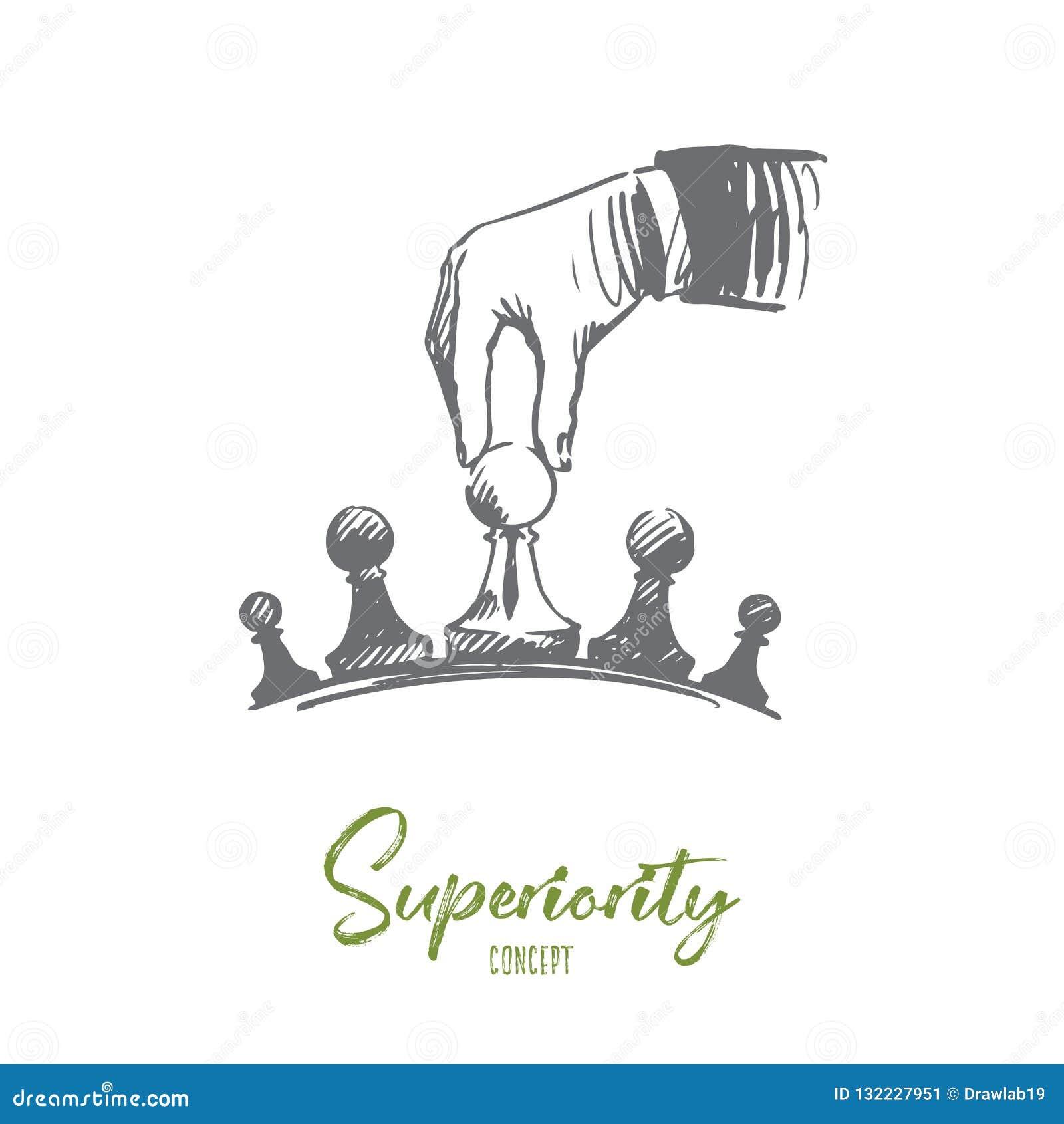 Estratégia, homem de negócios, táticas, conceito da superioridade Vetor isolado tirado mão