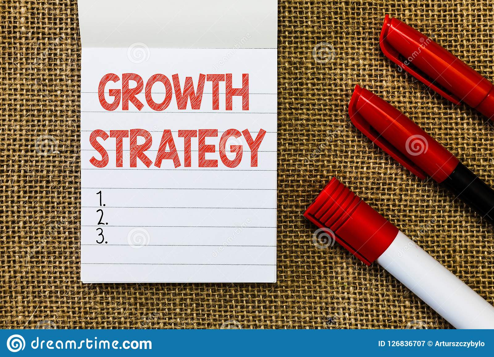 Estrategia del crecimiento del texto de la escritura de la palabra El concepto del negocio para la estrategia tuvo como objetivo