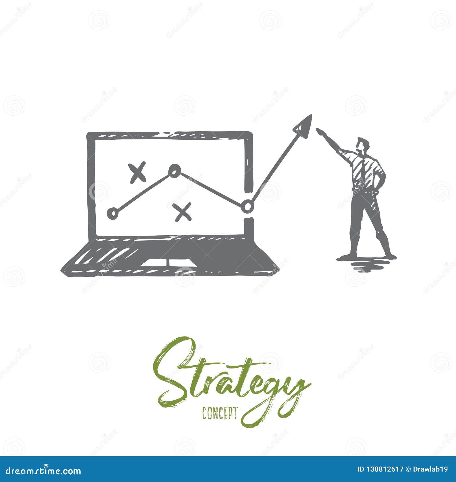 Estrategia, márketing, gráfico, diagrama, concepto de la flecha Vector aislado dibujado mano