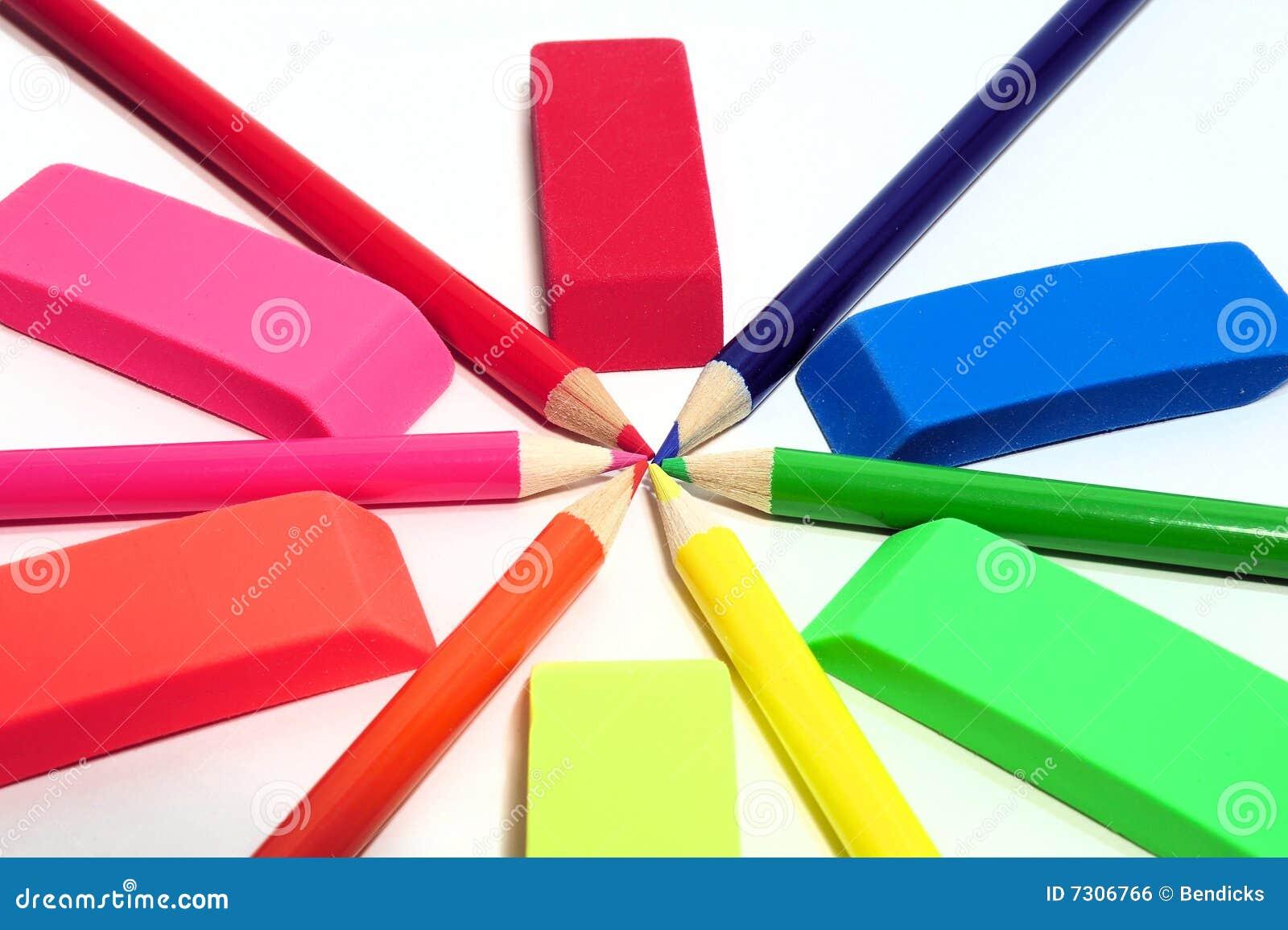 Estratto colorato dell eraser e della matita