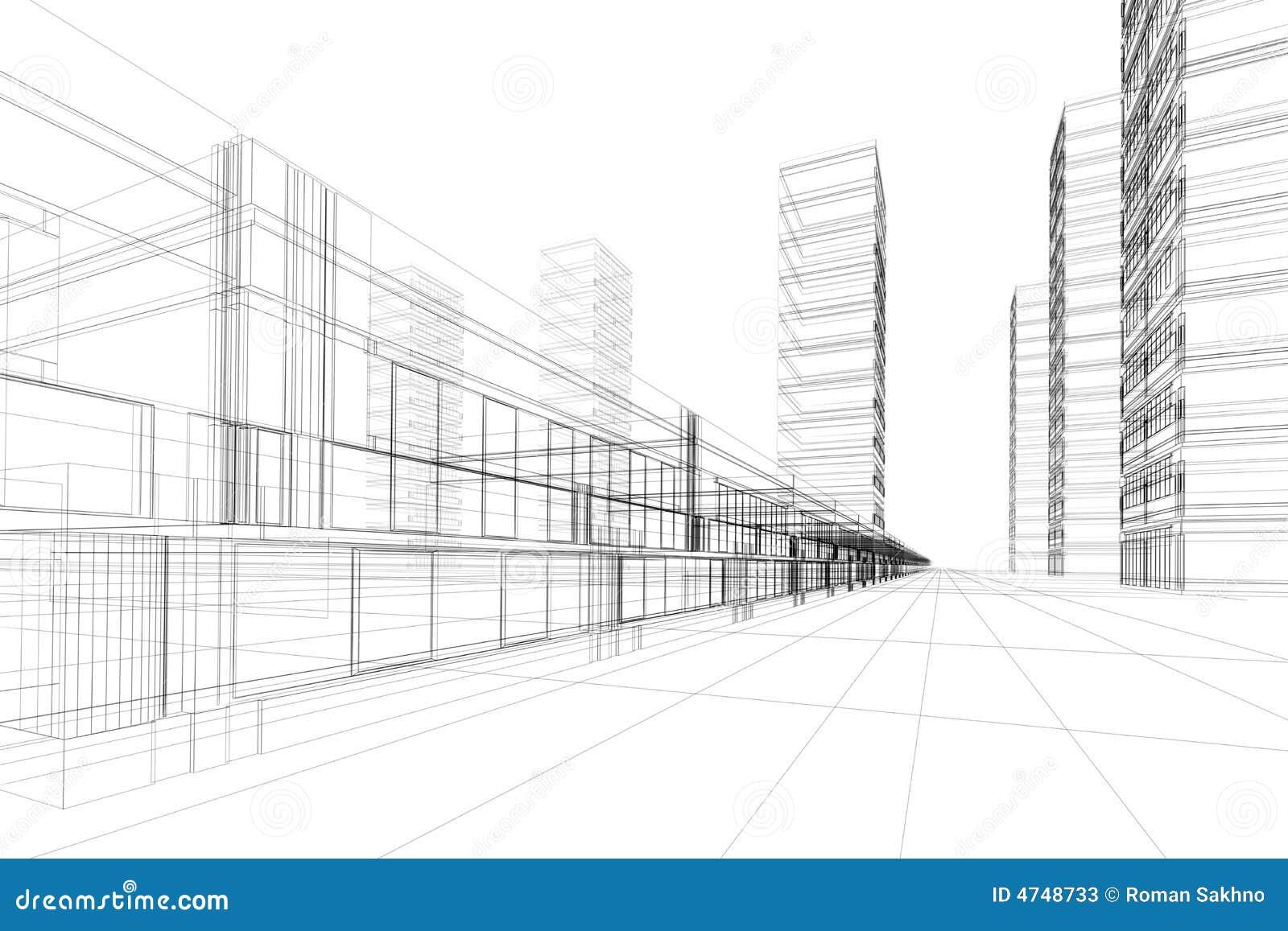 Estratto di architettura 3d illustrazione di stock for Architettura 3d