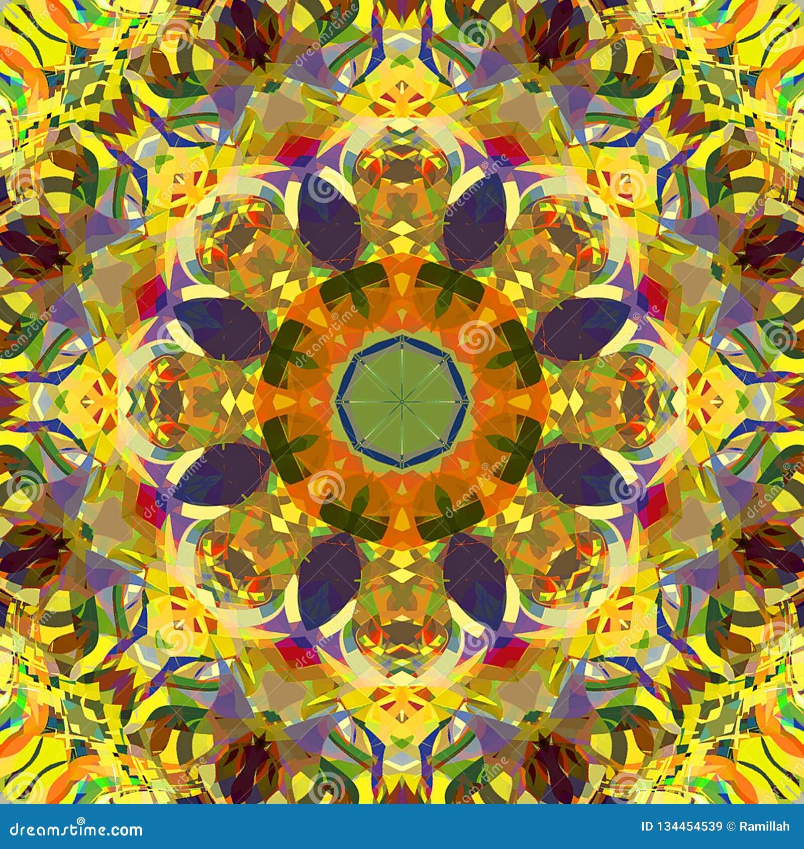 Estratto Mandala Background floreale variopinta della pittura di Digital