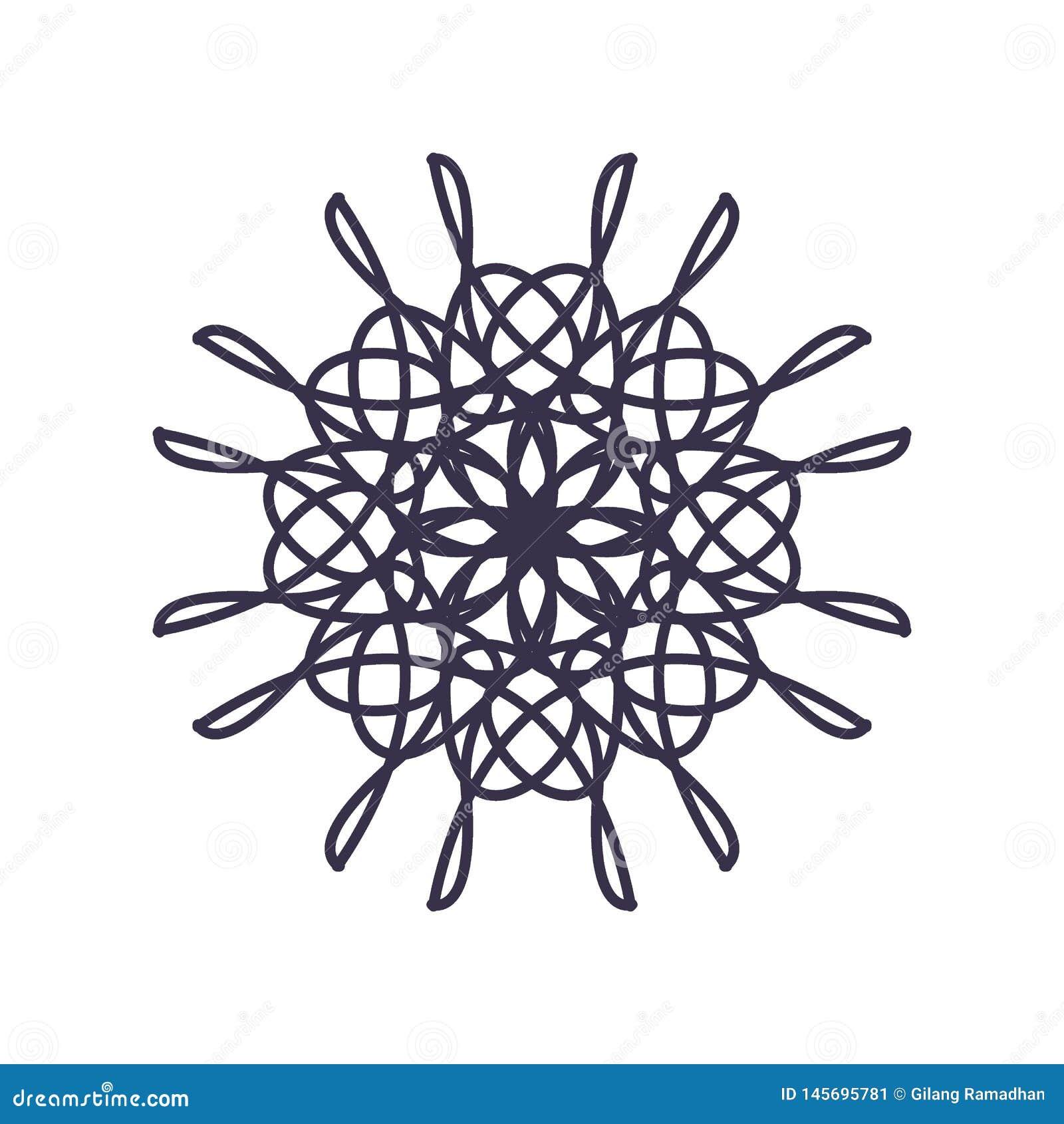 Estratto Mandala Geometry Outline per la decorazione o il tatuaggio