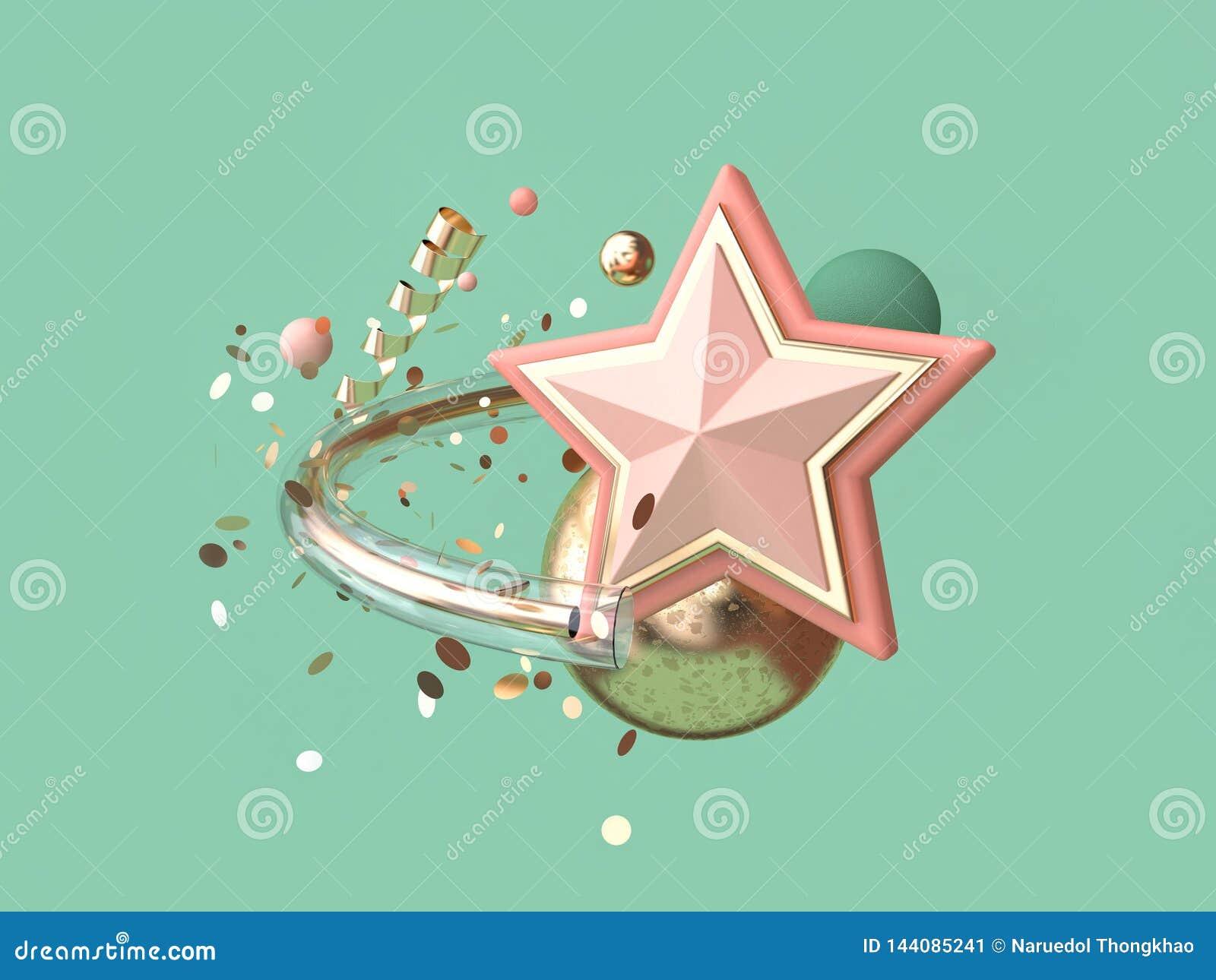 Estrela cor-de-rosa abstrata do fundo do verde da rendição 3d muita conceito de flutuação do Natal da decoração do objeto