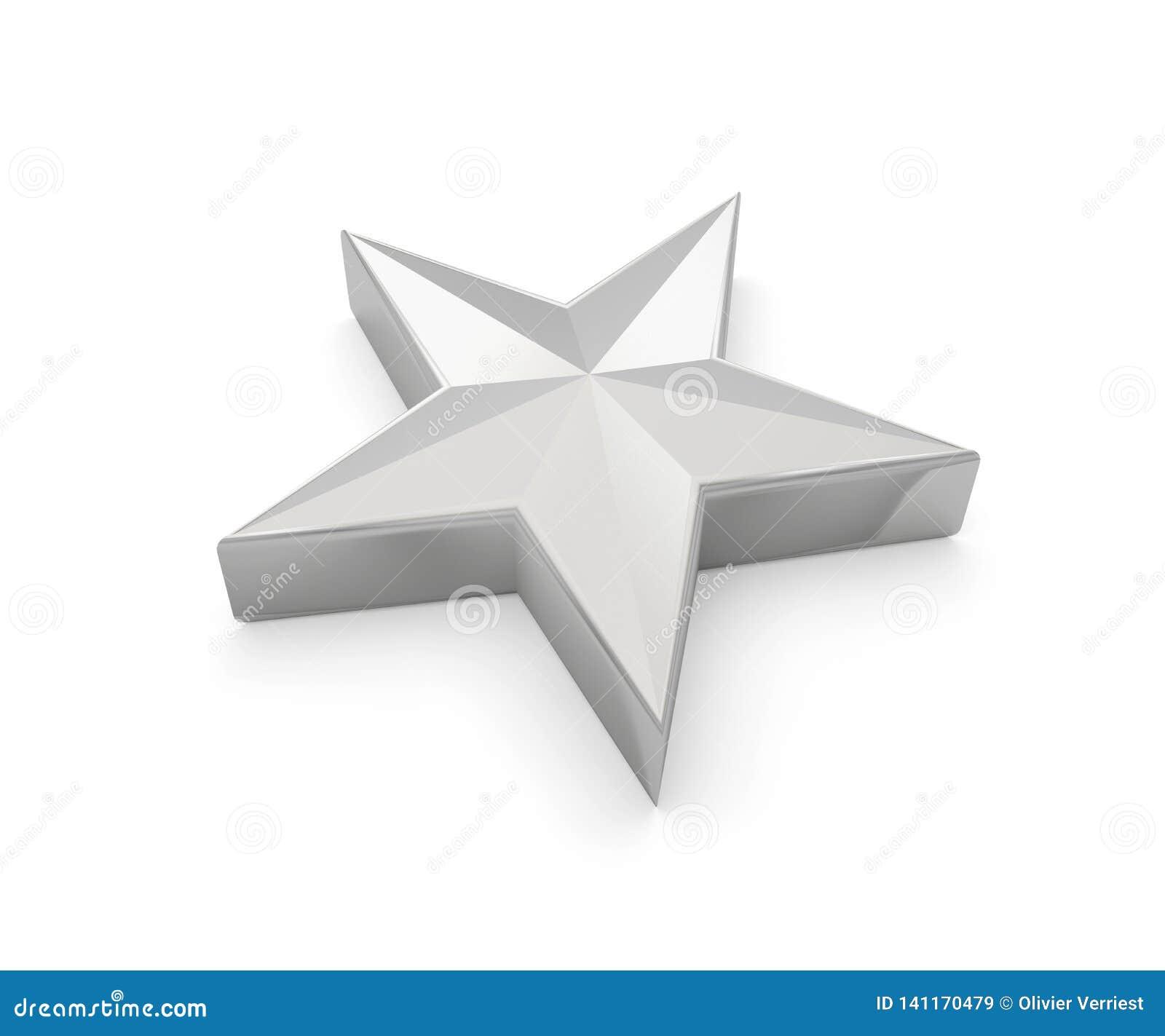Estrela 3D cinzento cinzento de prata
