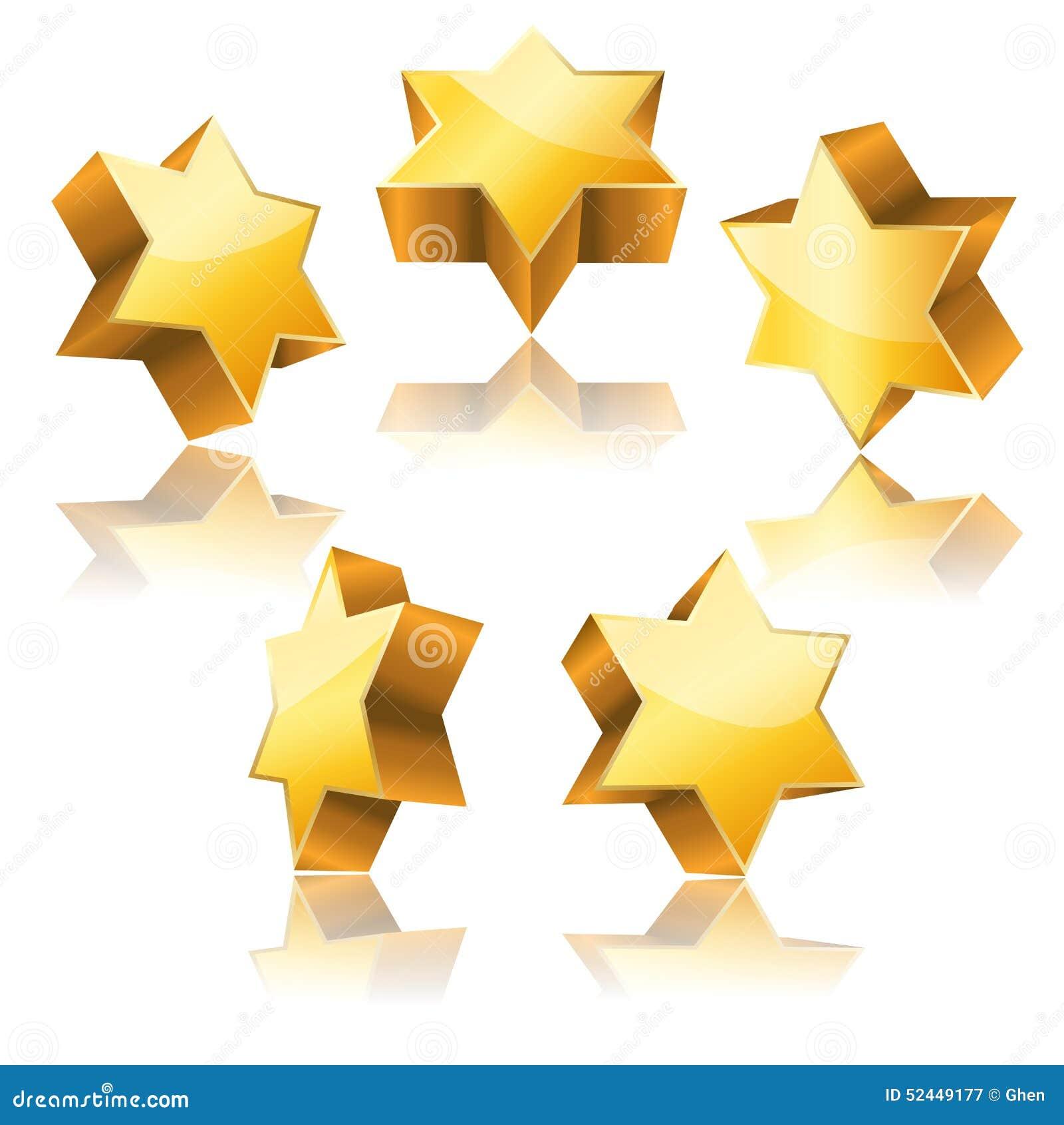Estrela de David 3d dourada metálica