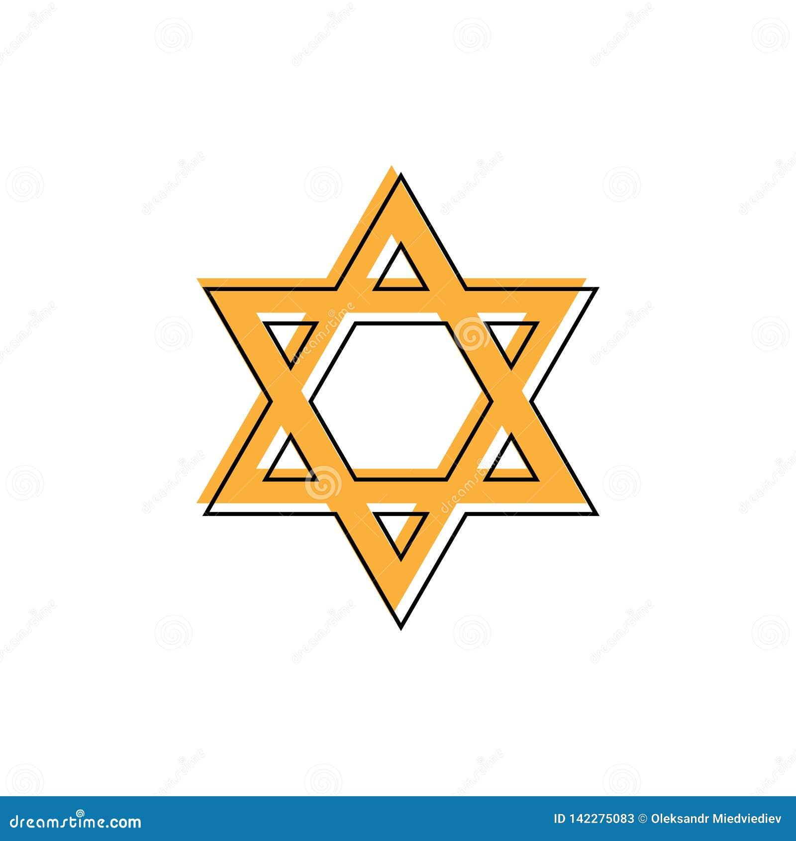 Estrela de David Sinal do Hexagram Símbolo da identidade e do judaísmo judaicos Ilustração alaranjada lisa simples