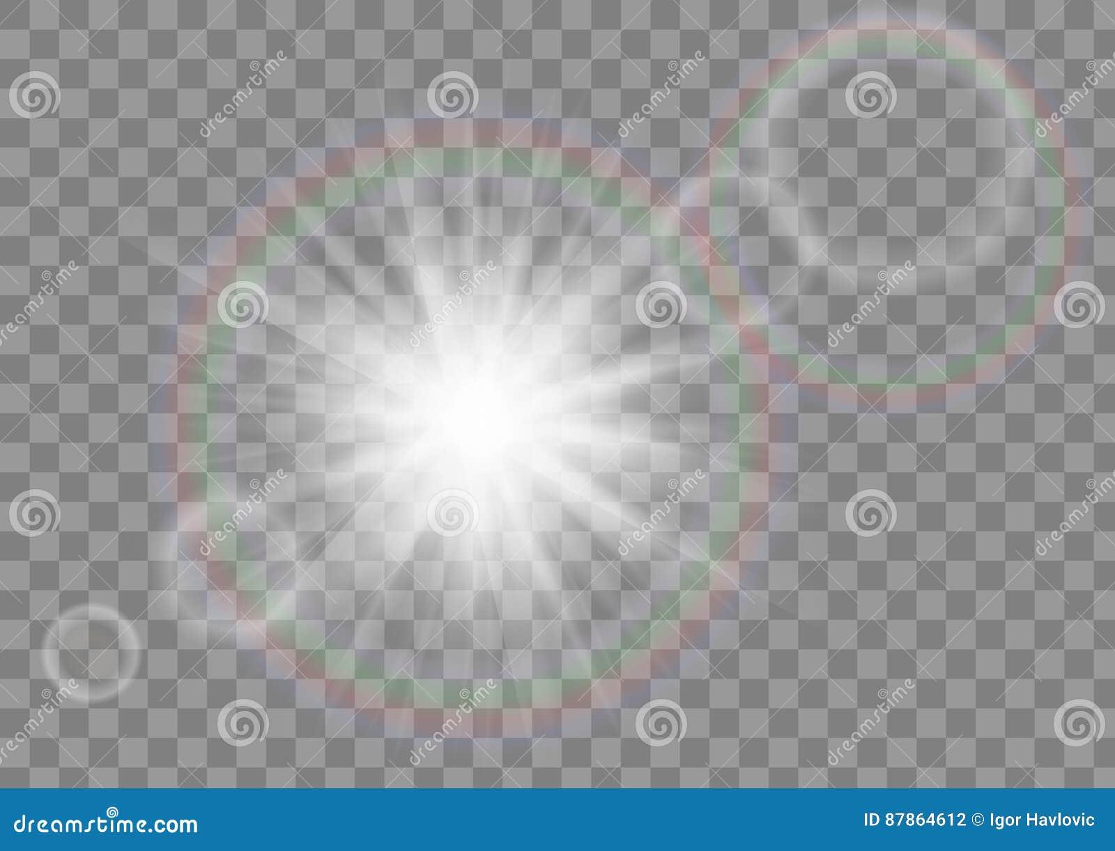Estrela de incandescência da faísca dos raios do sol com efeito do alargamento da lente no fundo transparente do vetor