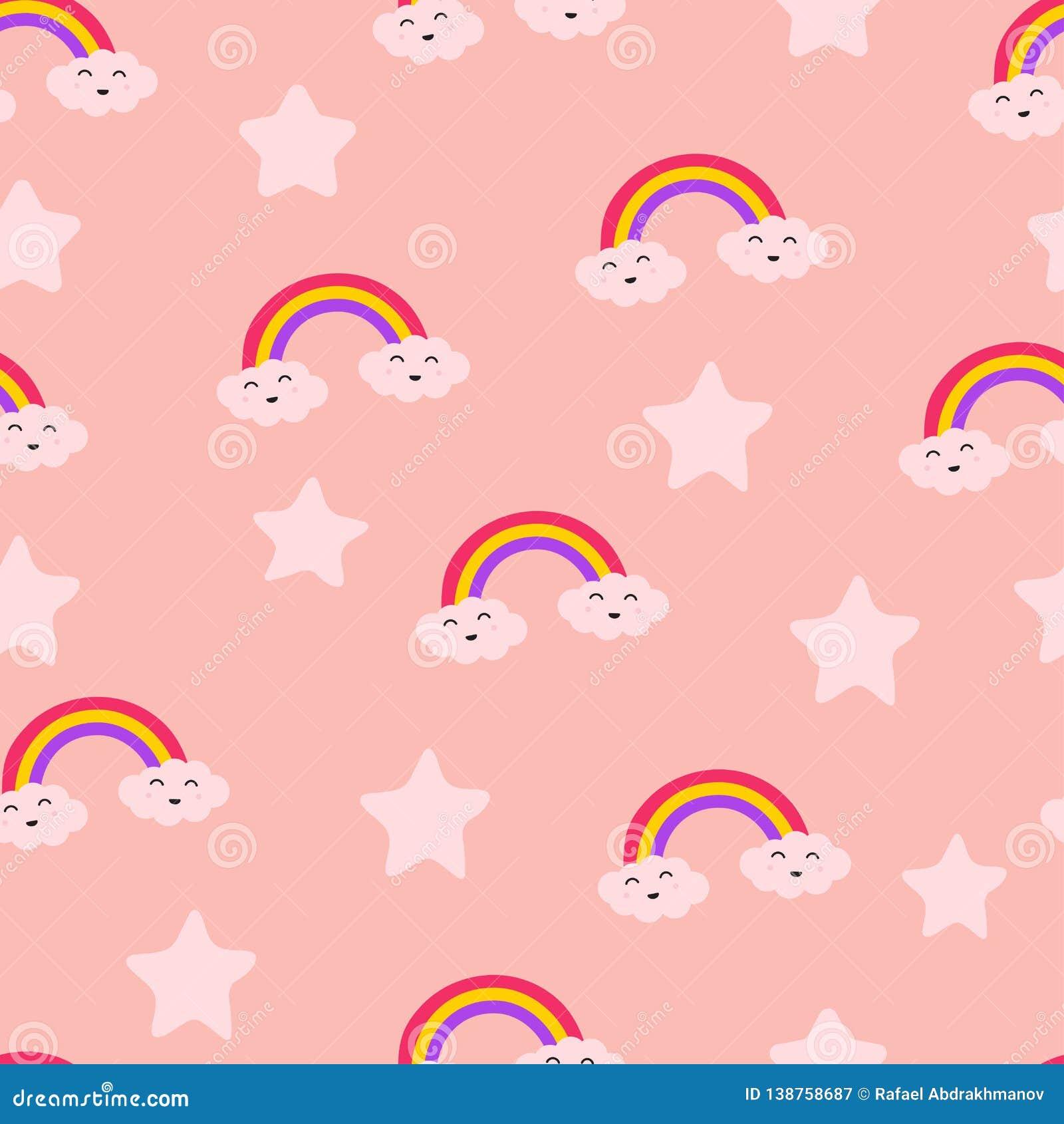 Estrela do arco-íris da nuvem e teste padrão sem emenda bonito da repetição de Sun, alegria do cuidado do divertimento do riso, a