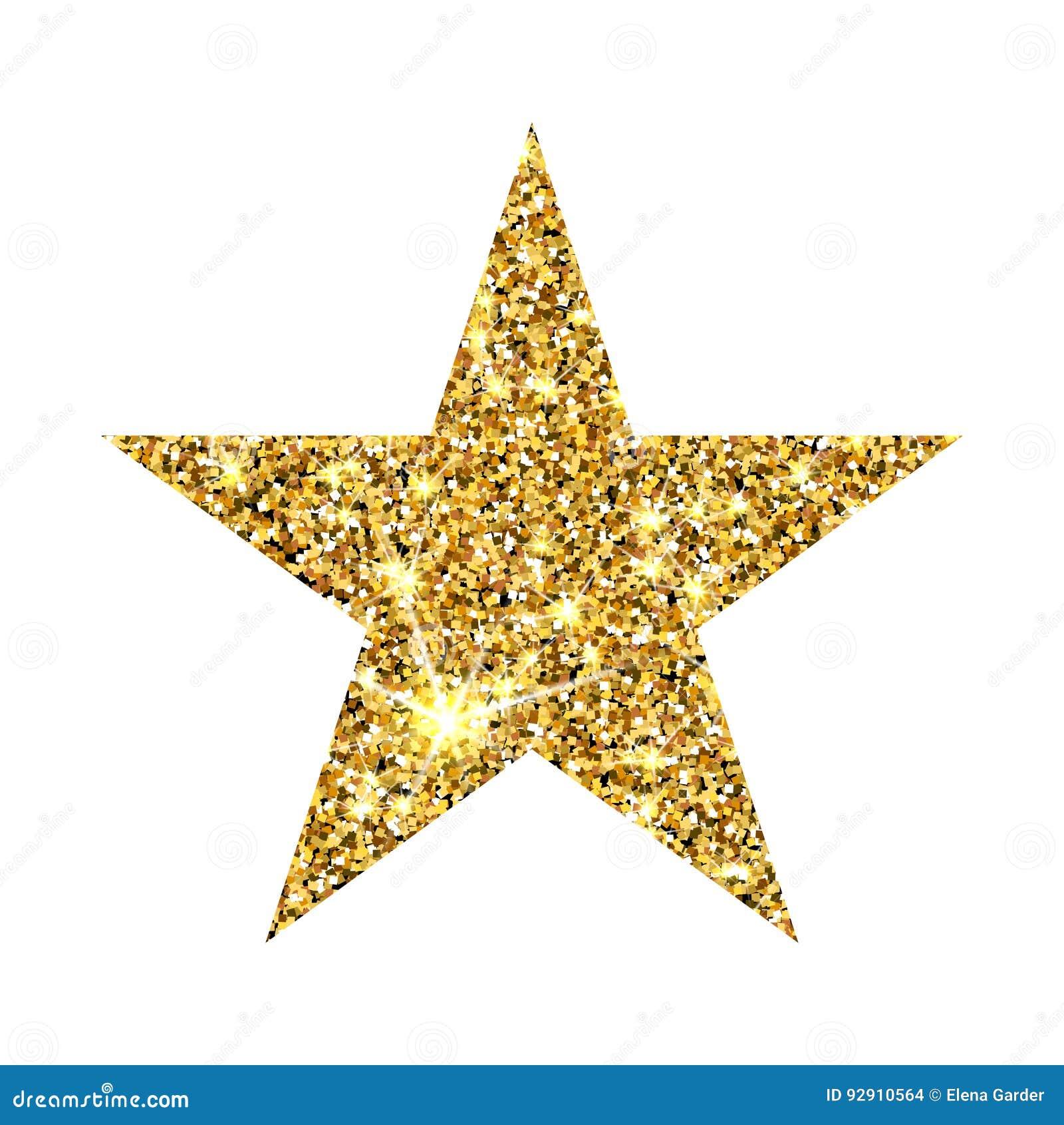 Estrela do brilho do ouro Elemento luxuoso do projeto do sparcle dourado Partículas ambarinas
