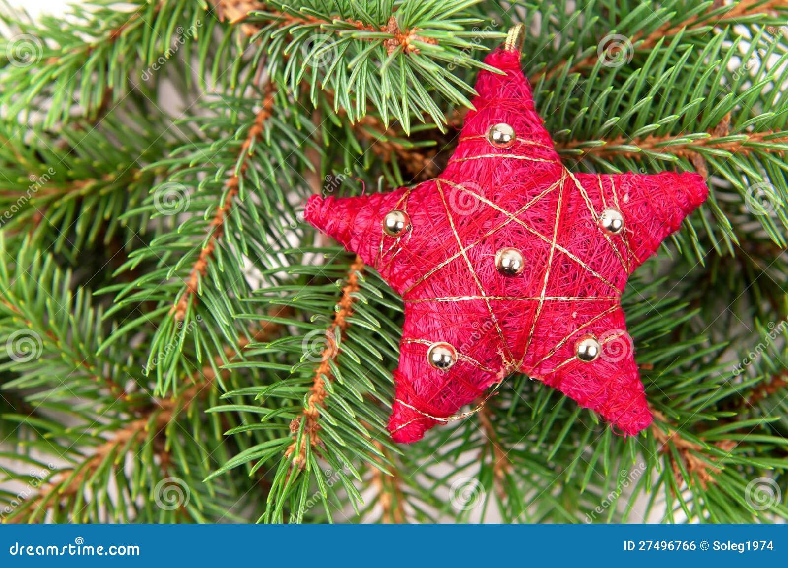 Estrela do vermelho da decoração da árvore de Natal