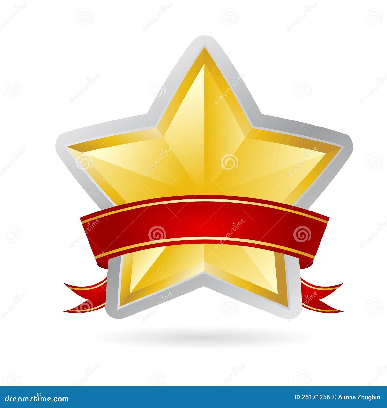 Estrela dourada com fita vermelha