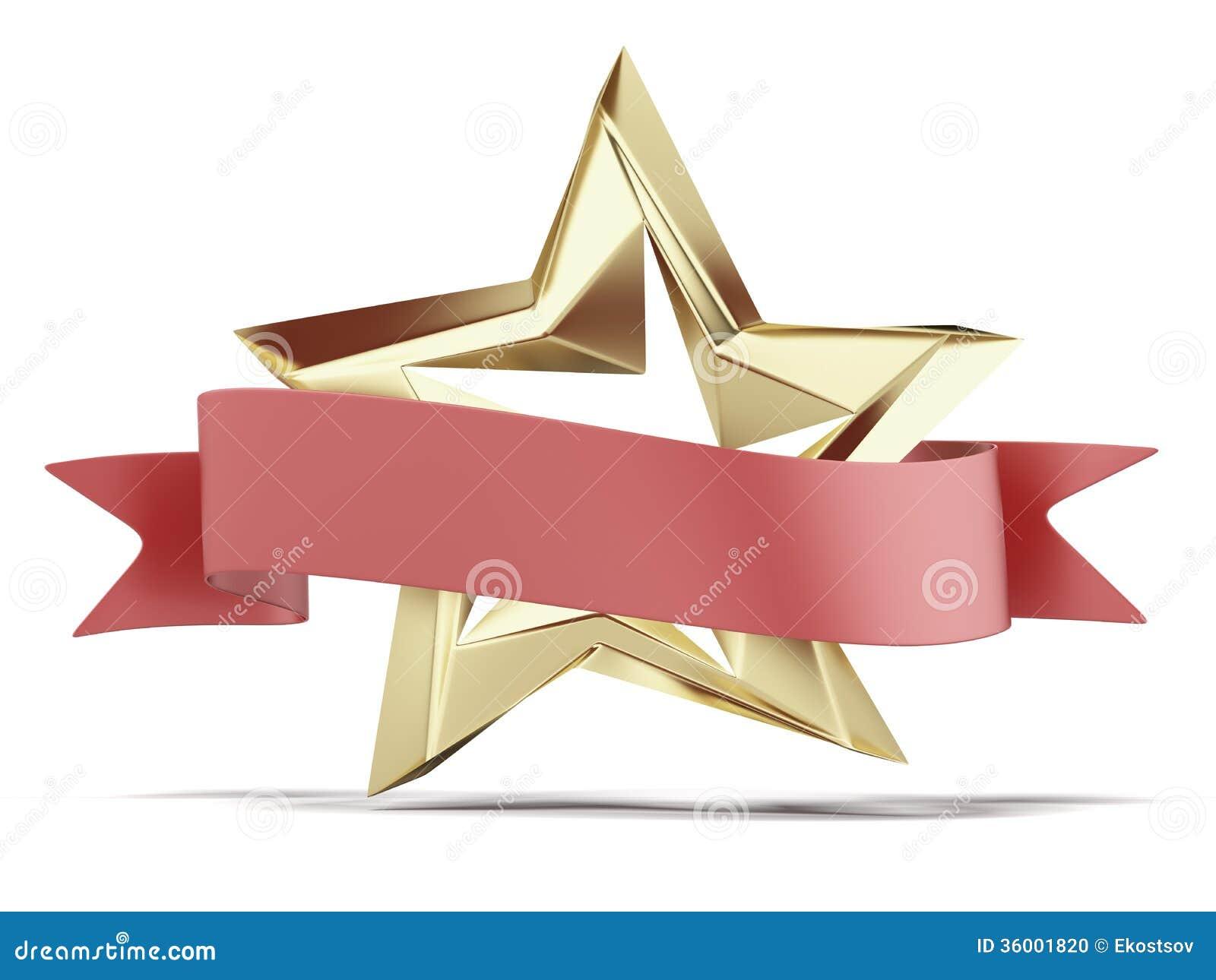 Estrela dourada e fita vermelha