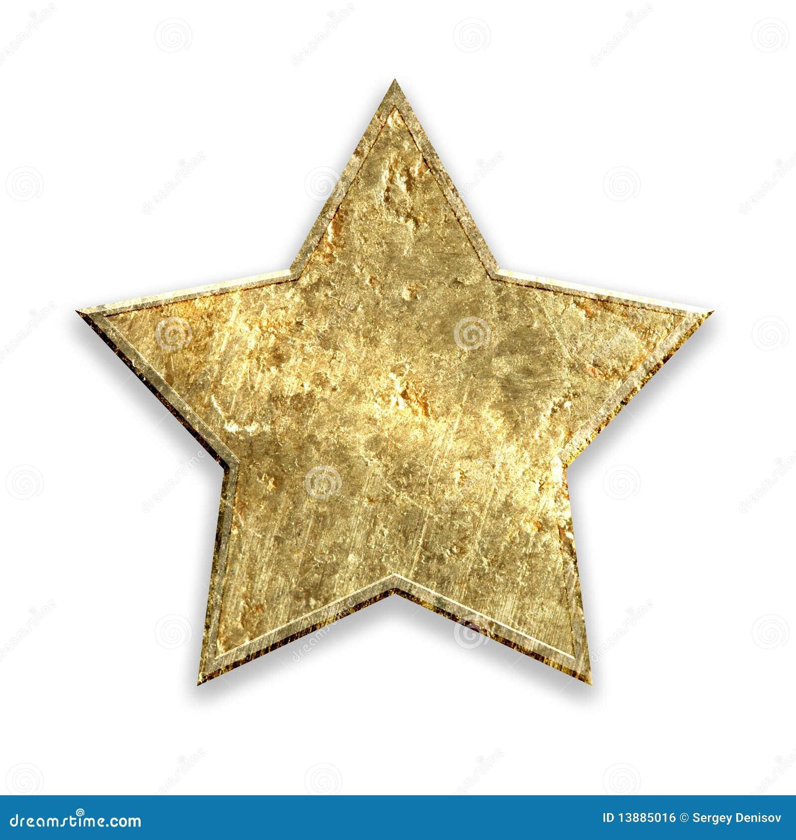 Estrela metálica do grunge do ouro