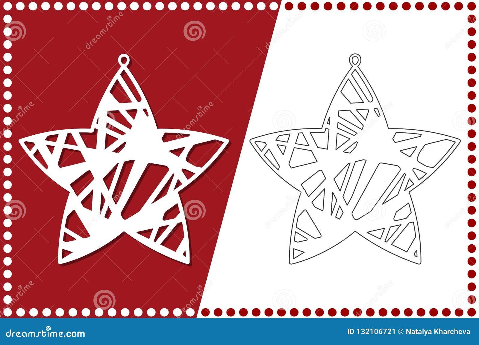 Estrela moderna do Natal O brinquedo de ano novo para o corte do laser Ilustração do vetor