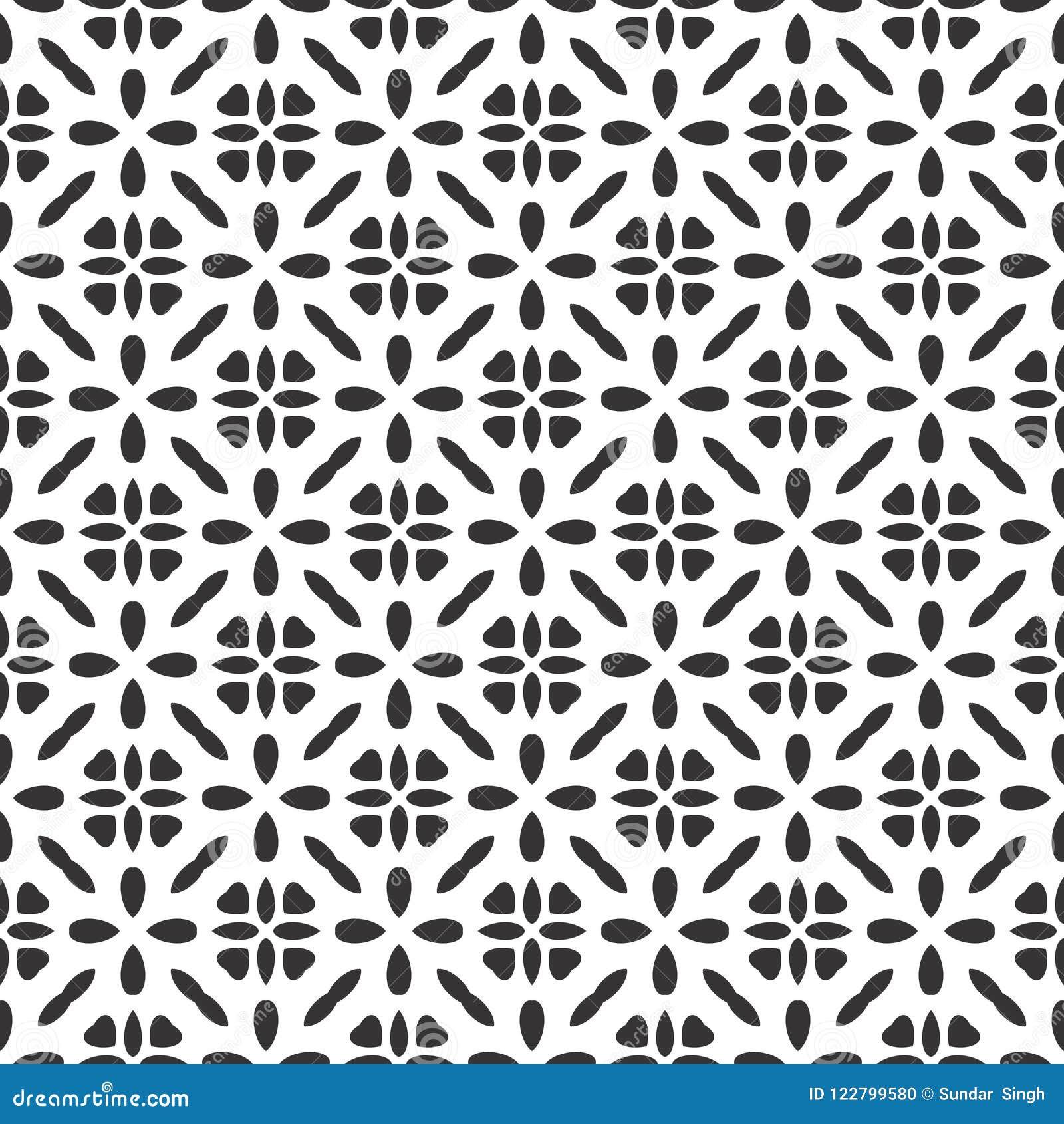 Estrela sem emenda moderna do teste padrão da geometria do vetor preto e branco de Safari Pattern, sumário preto e branco