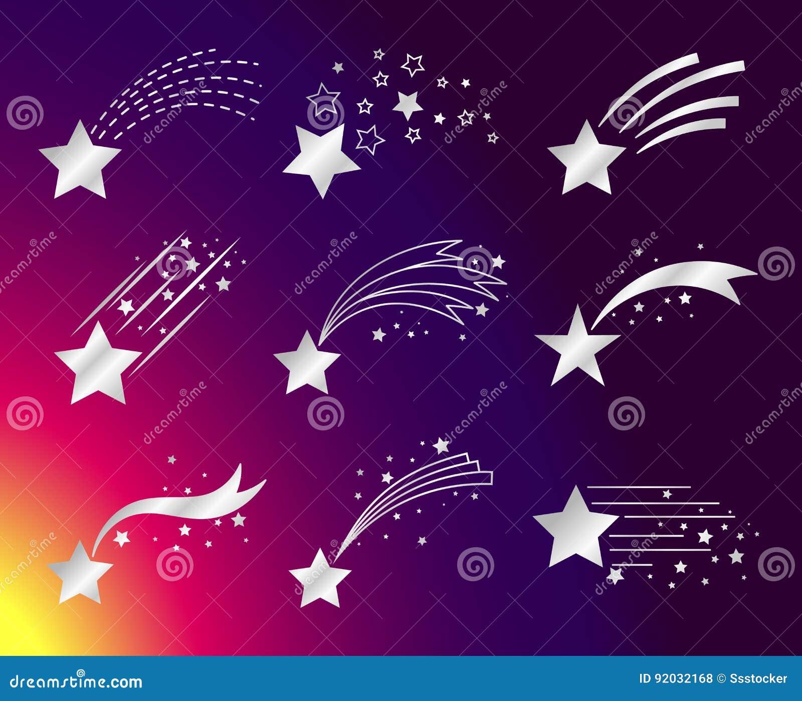 Estrelas brancas ou ícones de queda dos cometas