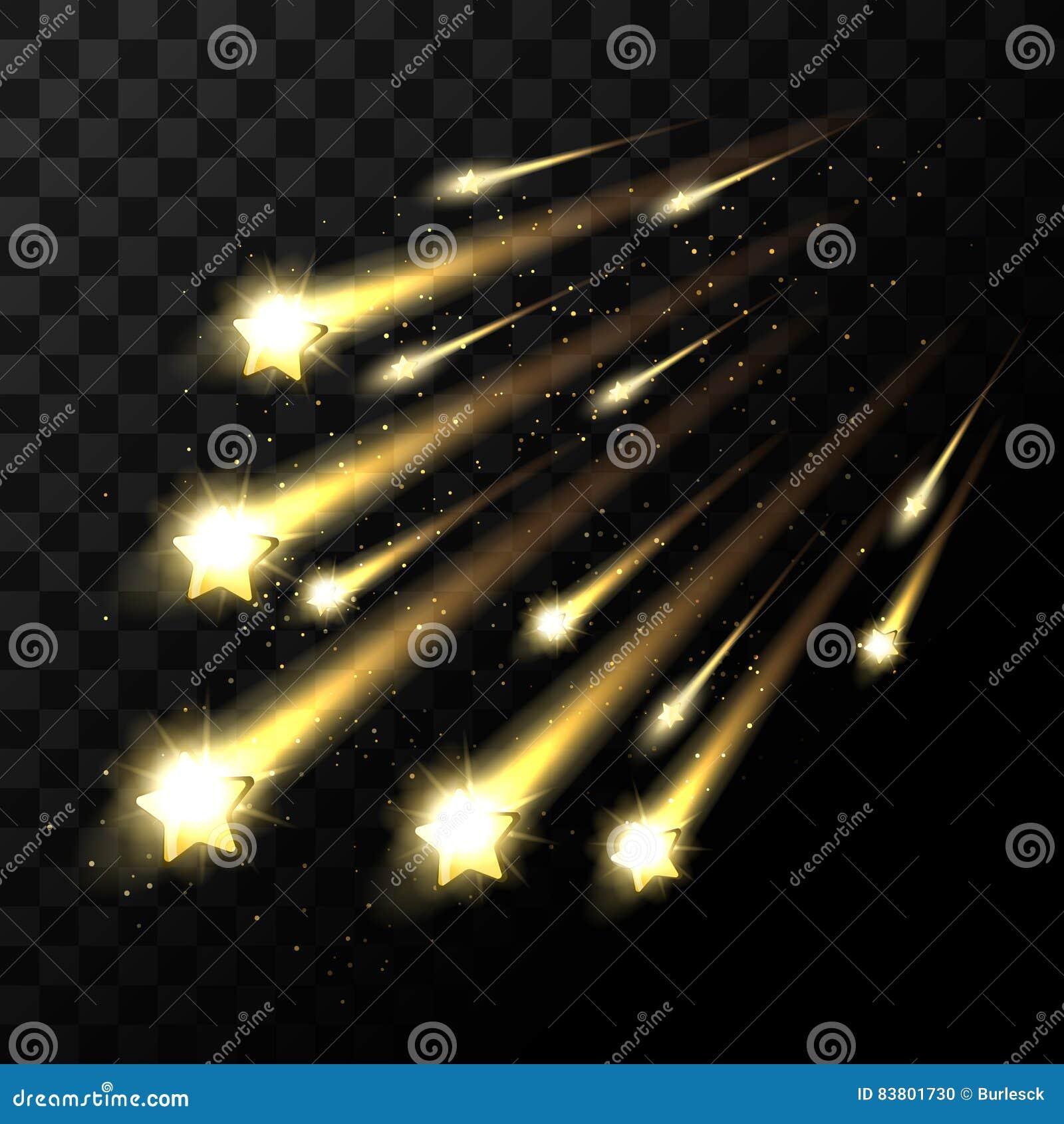 Estrelas de queda do vetor no fundo transparente Tiro da luz da estrela do espaço na obscuridade