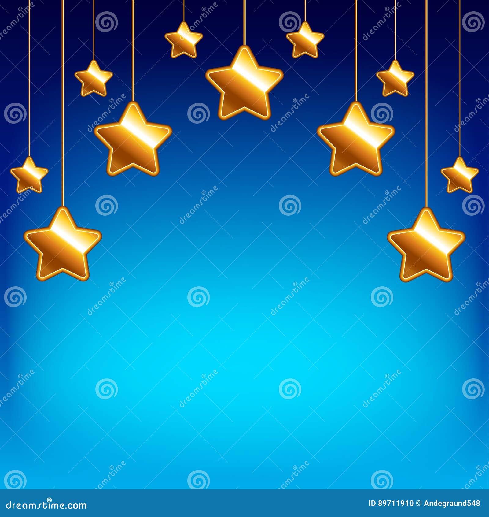 Estrelas dos desenhos animados no fundo do vetor do céu azul