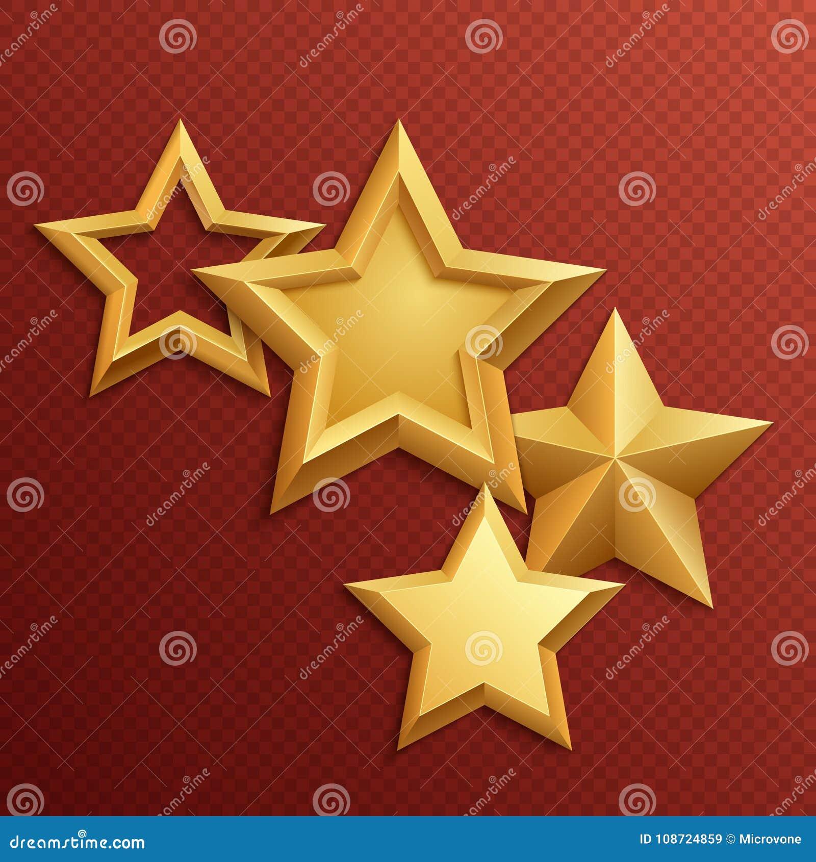 Estrelas douradas do metal brilhante da concessão