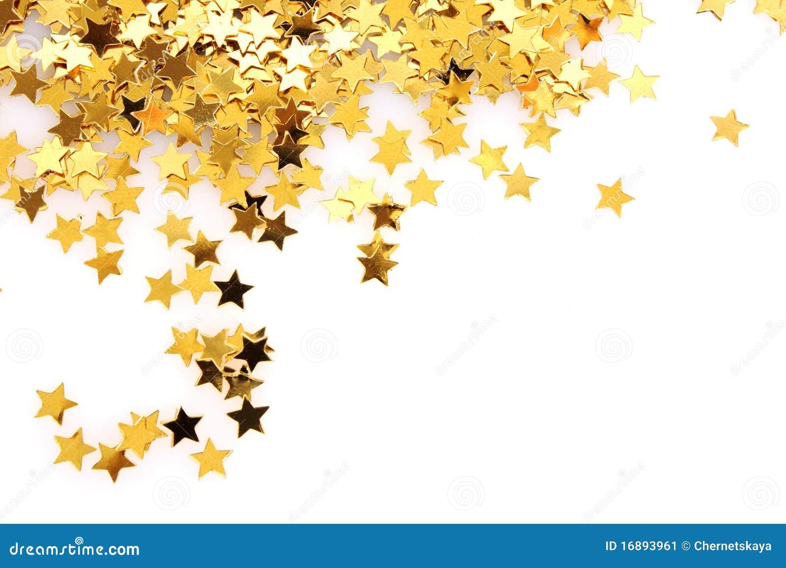 Estrelas Douradas Sob A Forma Do Confetti Imagem De Stock