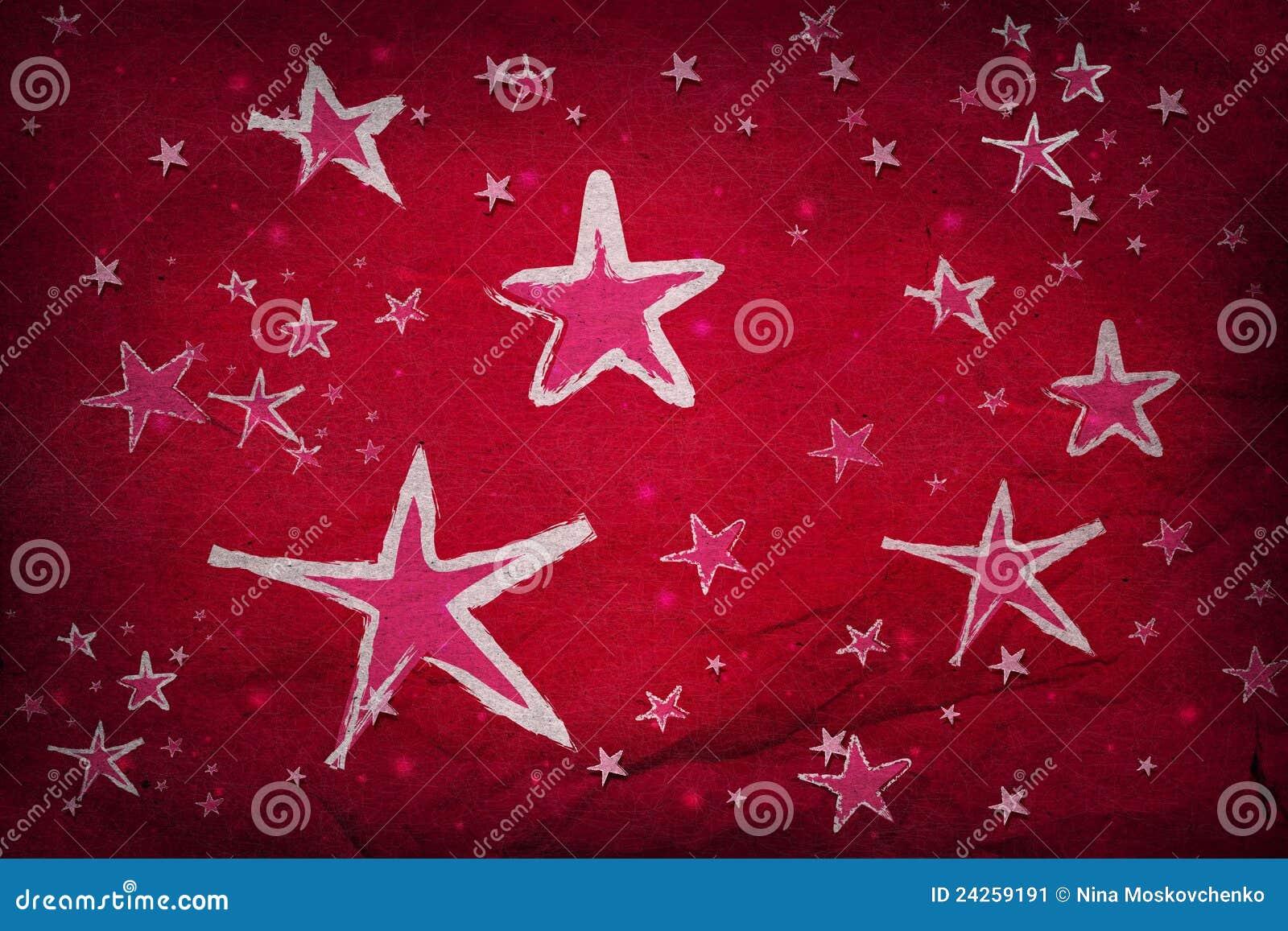 Estrelas no papel vermelho