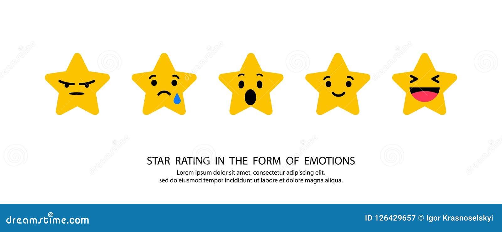 Estrelas que avaliam nas emoções do formulário