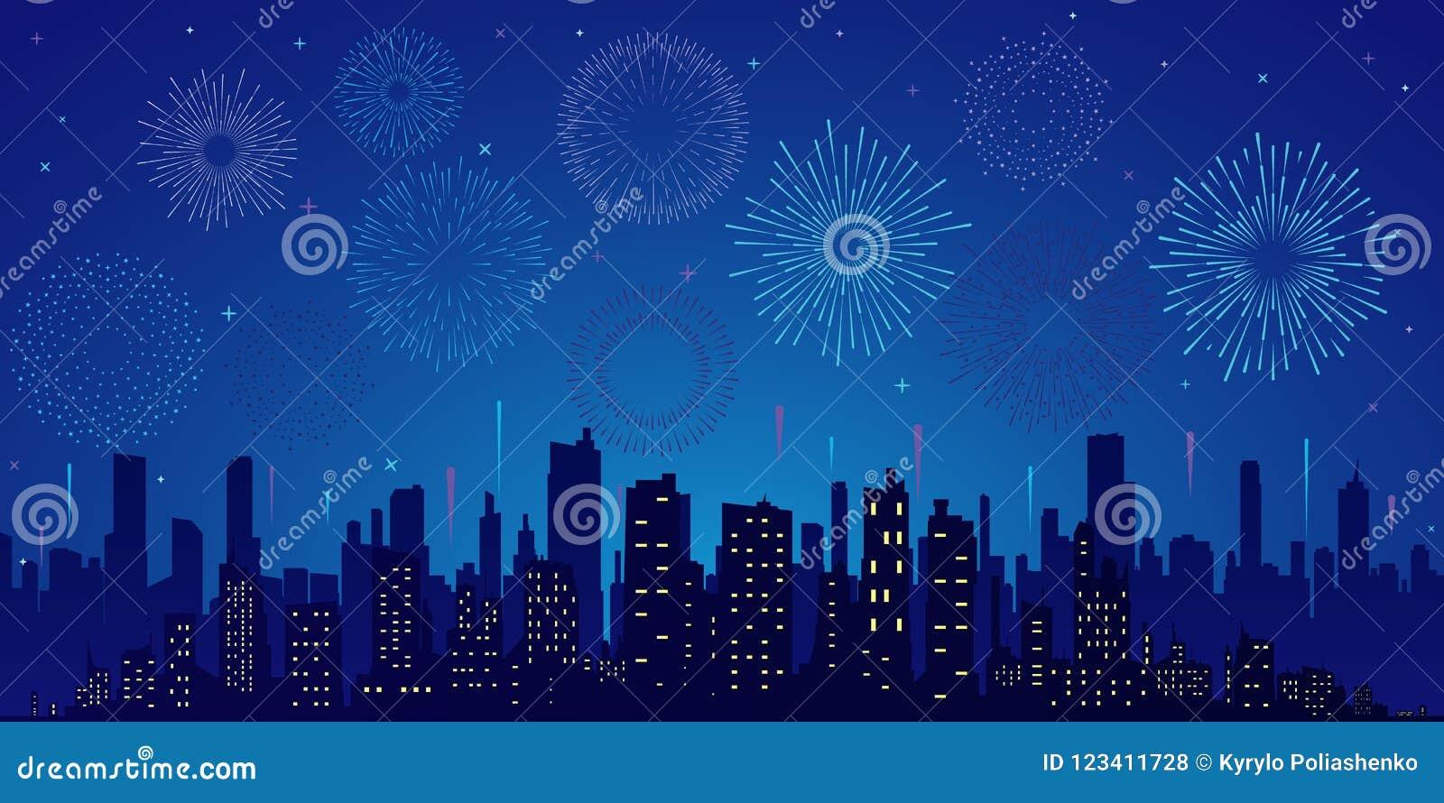 Estrelas, skyline e saudação