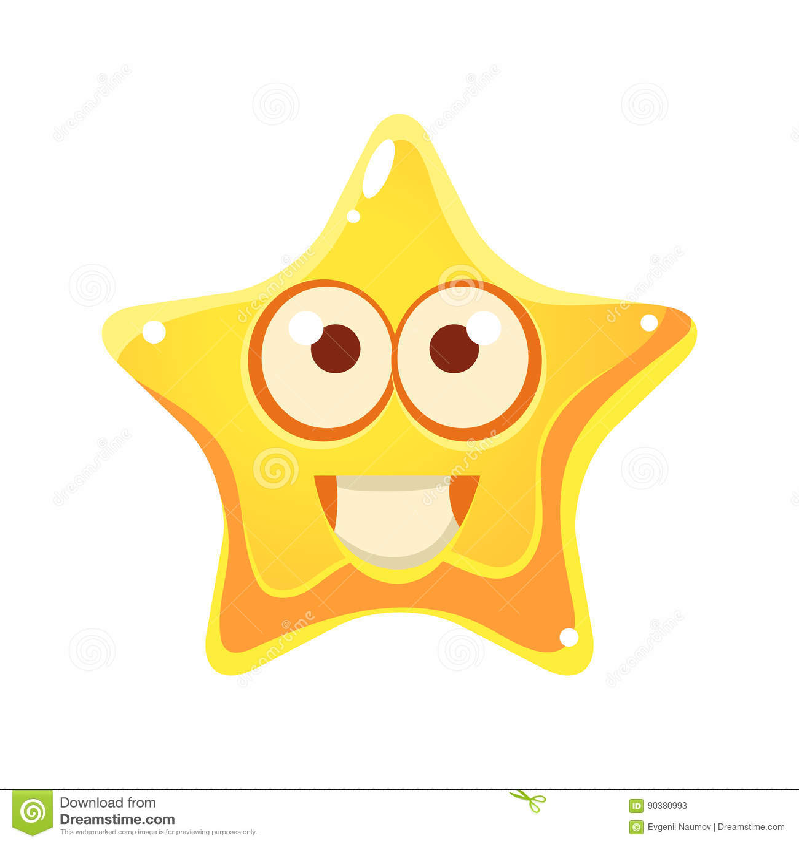 Estrella Amarilla Con La Cara Sonriente Y Los Ojos Grandes