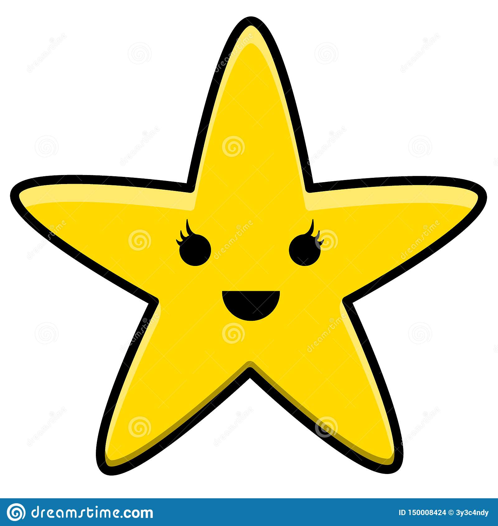 Estrella amarilla Logo Illustration de Kawaii