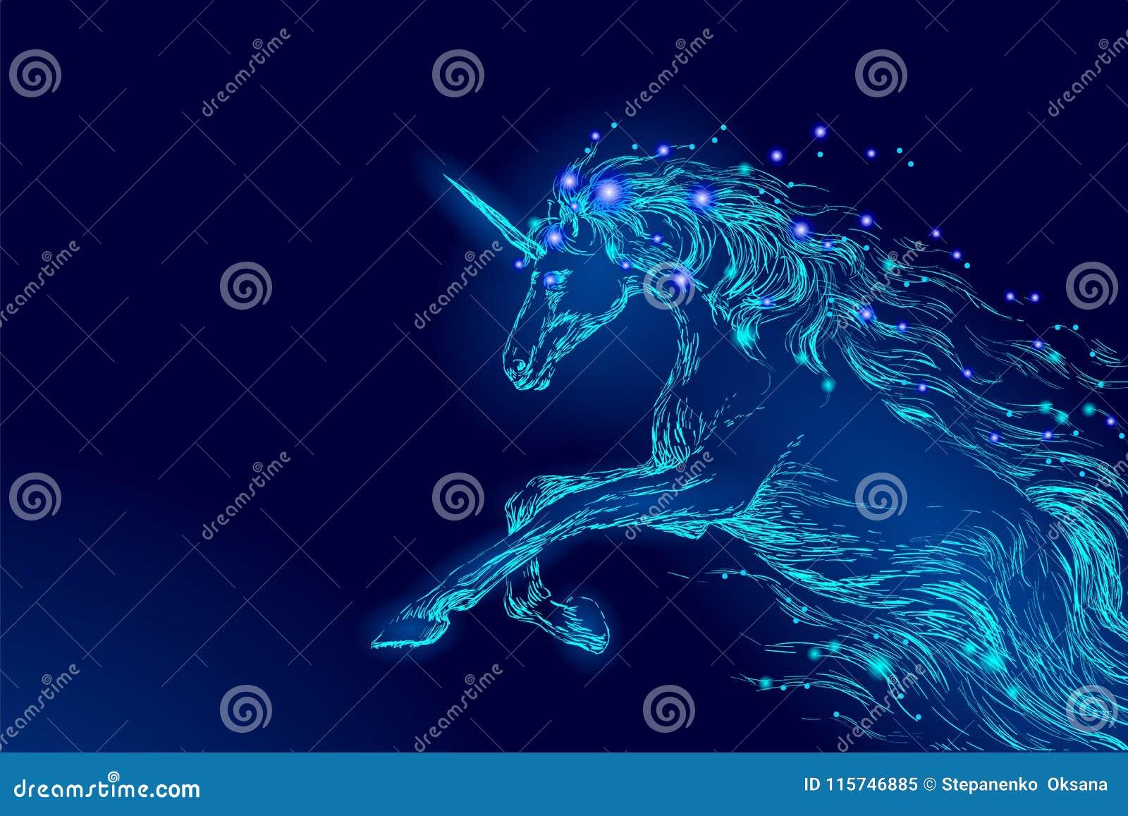 Estrella azul del cielo nocturno del montar a caballo del unicornio del caballo que brilla intensamente Hada brillante del cuerno