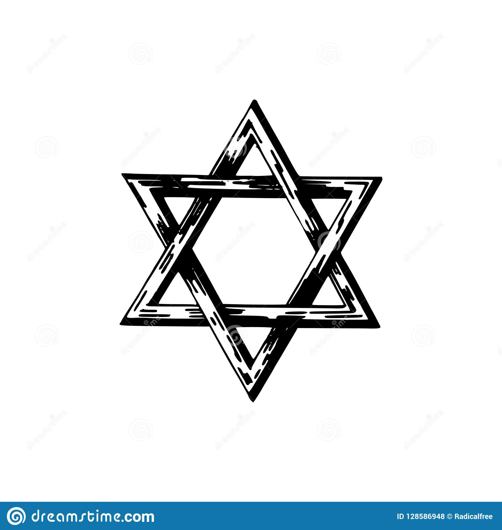 Estrella de David, ejemplo dibujado mano Símbolo judaico de la religión en vector
