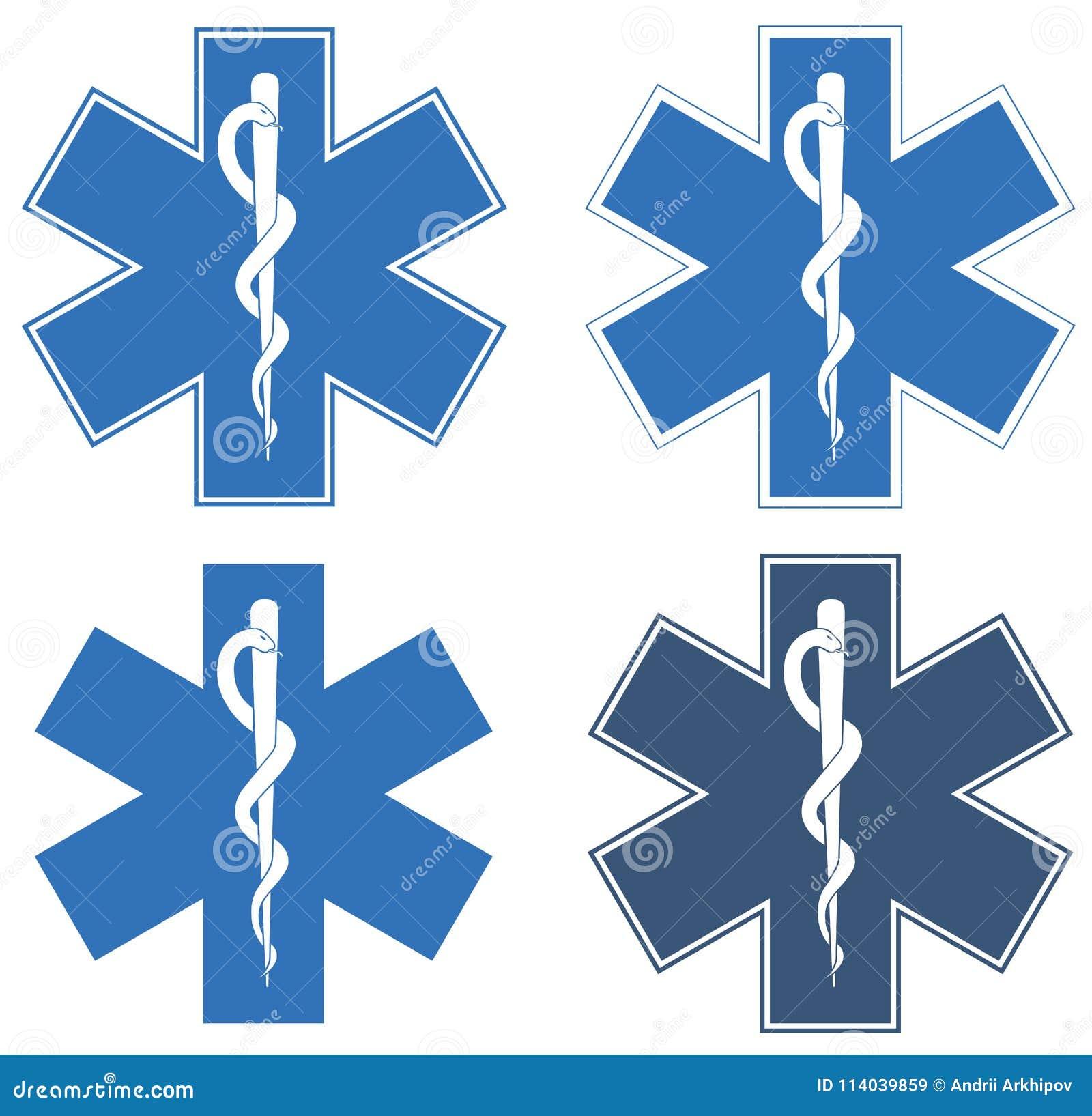 Estrella de la vida Estrella seis-acentuada azul en el centro - el Rod blanco de Asclepius
