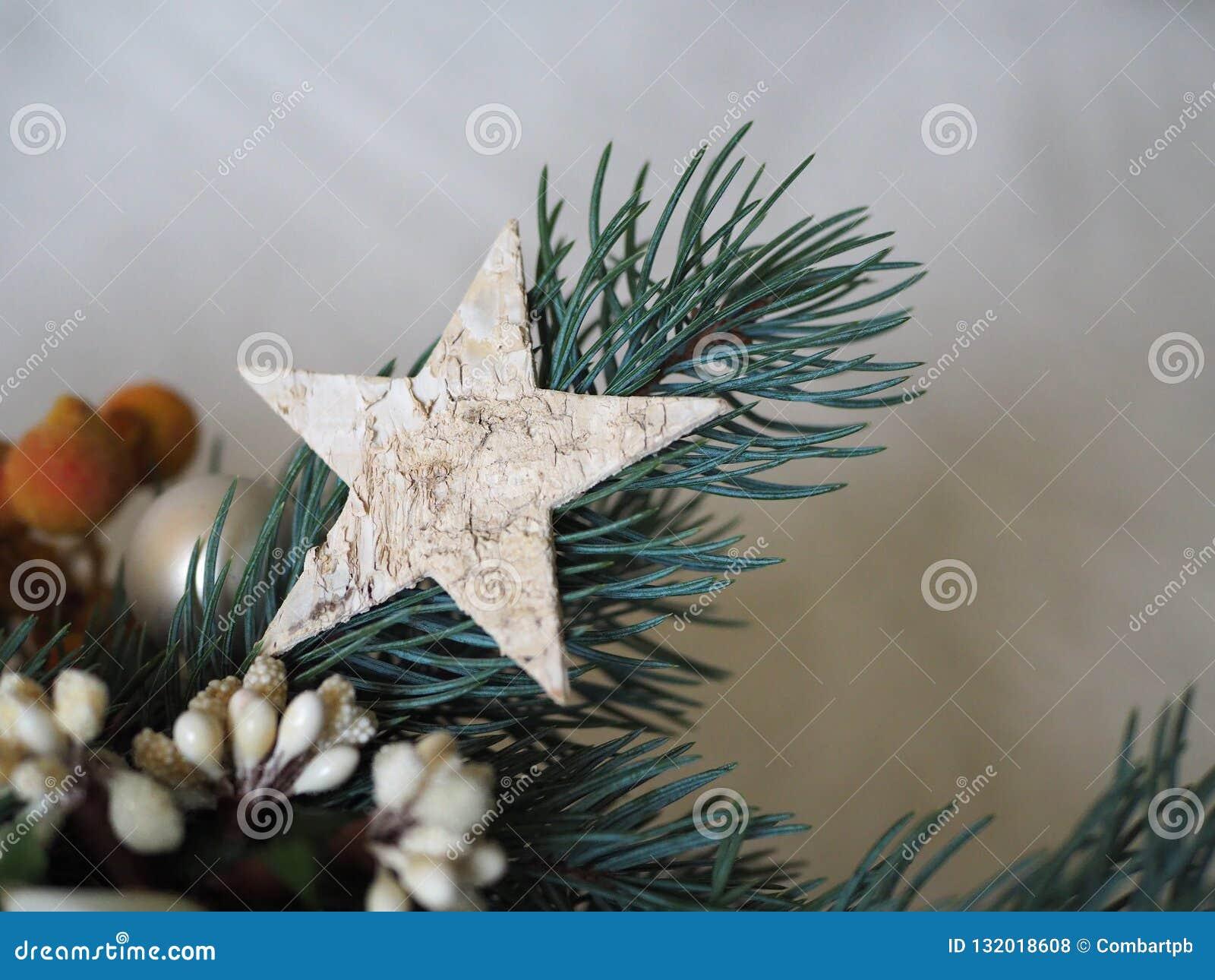 Estrella de madera en una pequeña rama de la Navidad