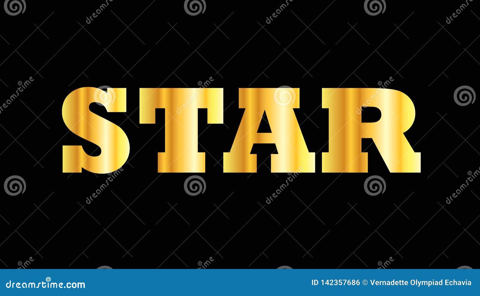 Estrella de oro brillante de la palabra de la mayúscula
