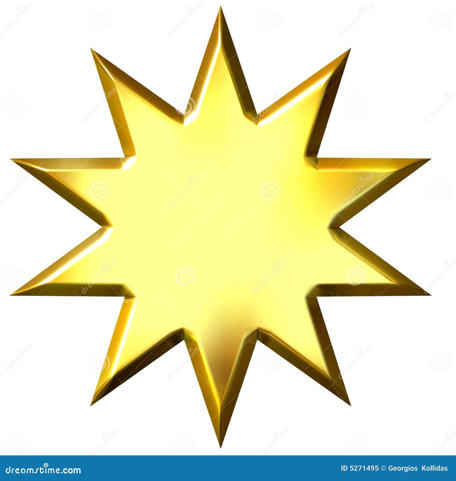 Estrella de oro de 10 puntas 3d aislada en blanco.