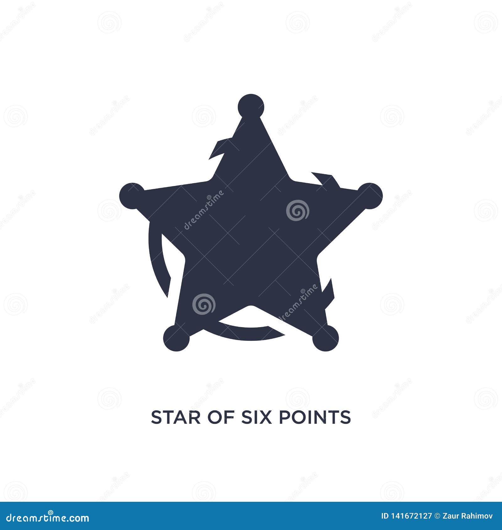 Estrella de seis puntos del icono en el fondo blanco Ejemplo simple del elemento del concepto de la geometría