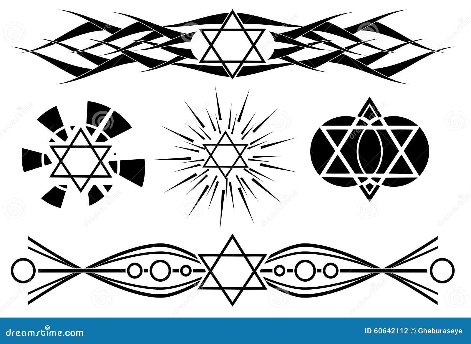 Estrella Del Tatuaje De David En Negro Aislado Ilustración Del