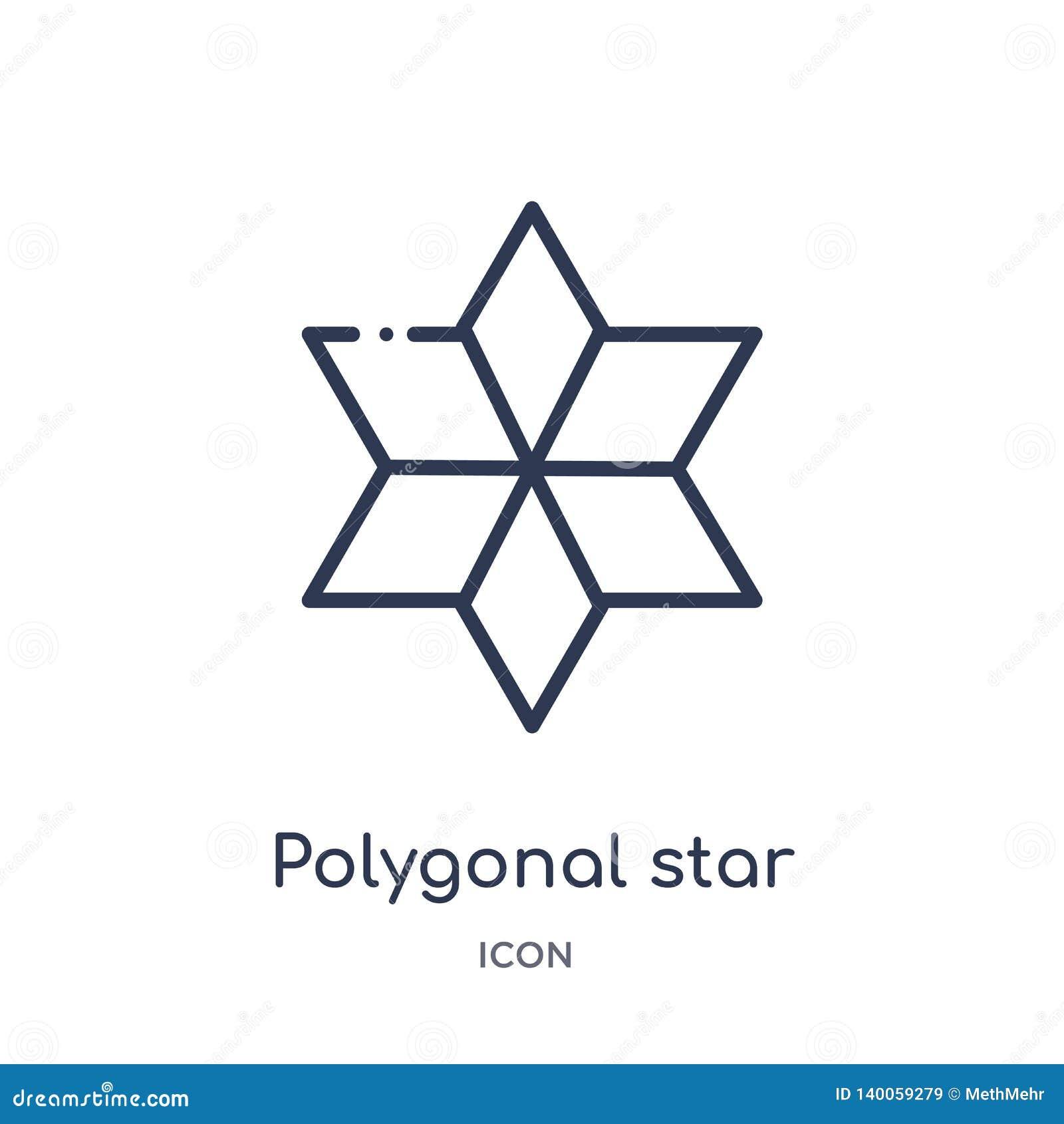 Estrella poligonal linear de seis puntos del icono de la colección del esquema de la geometría Línea fina estrella poligonal de s