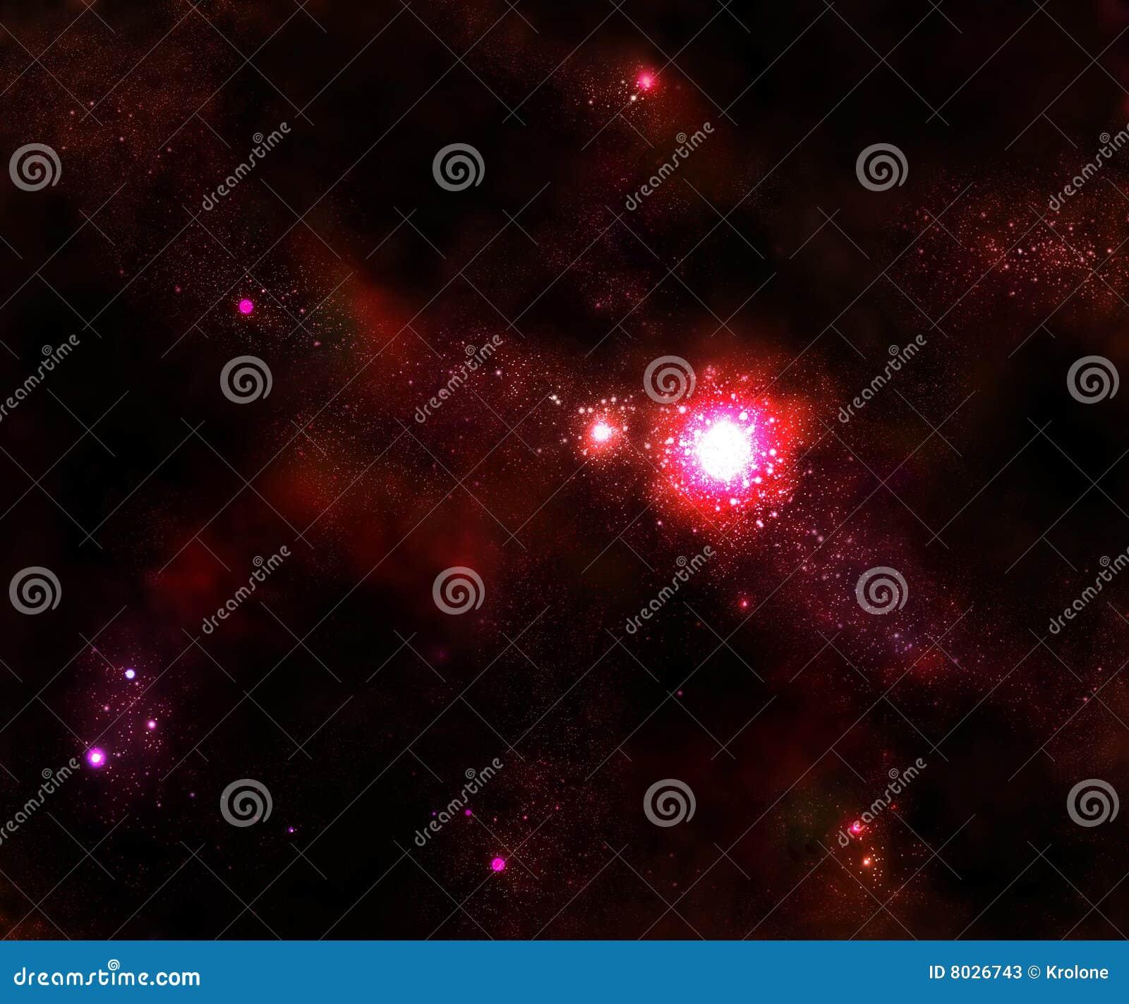 Estrella y galaxia roja del espacio