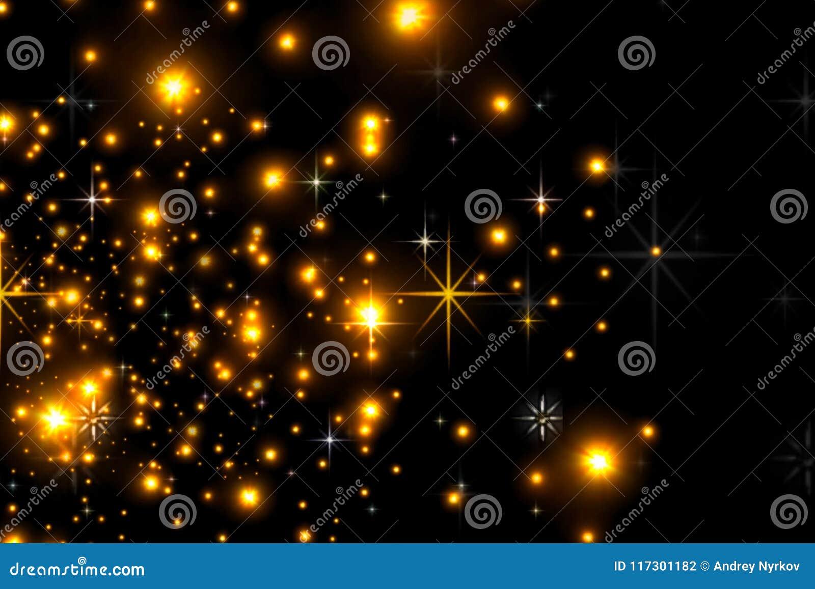 Estrellas Animadas En Un Fondo Negro El Cielo Estrellado