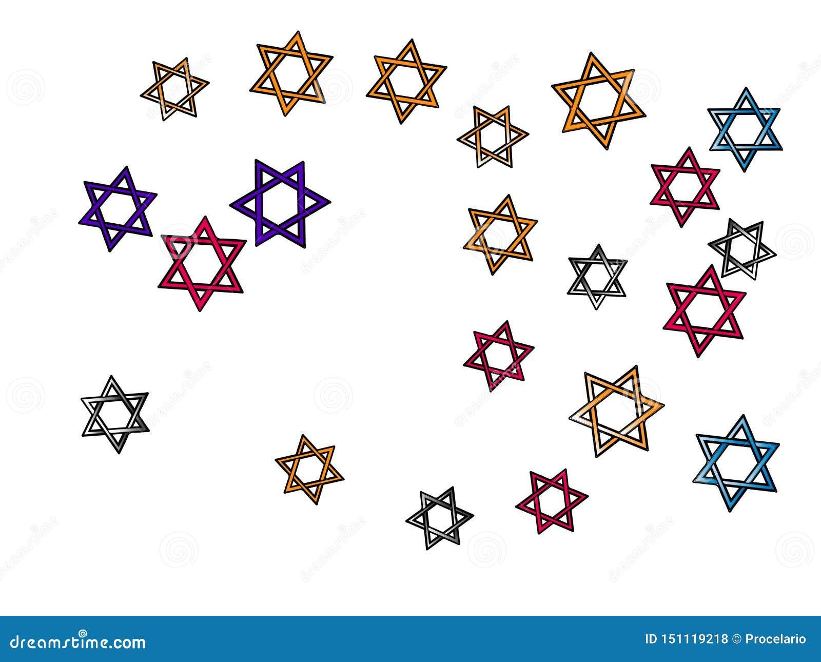 Estrellas coloreadas de David del confeti, estrella